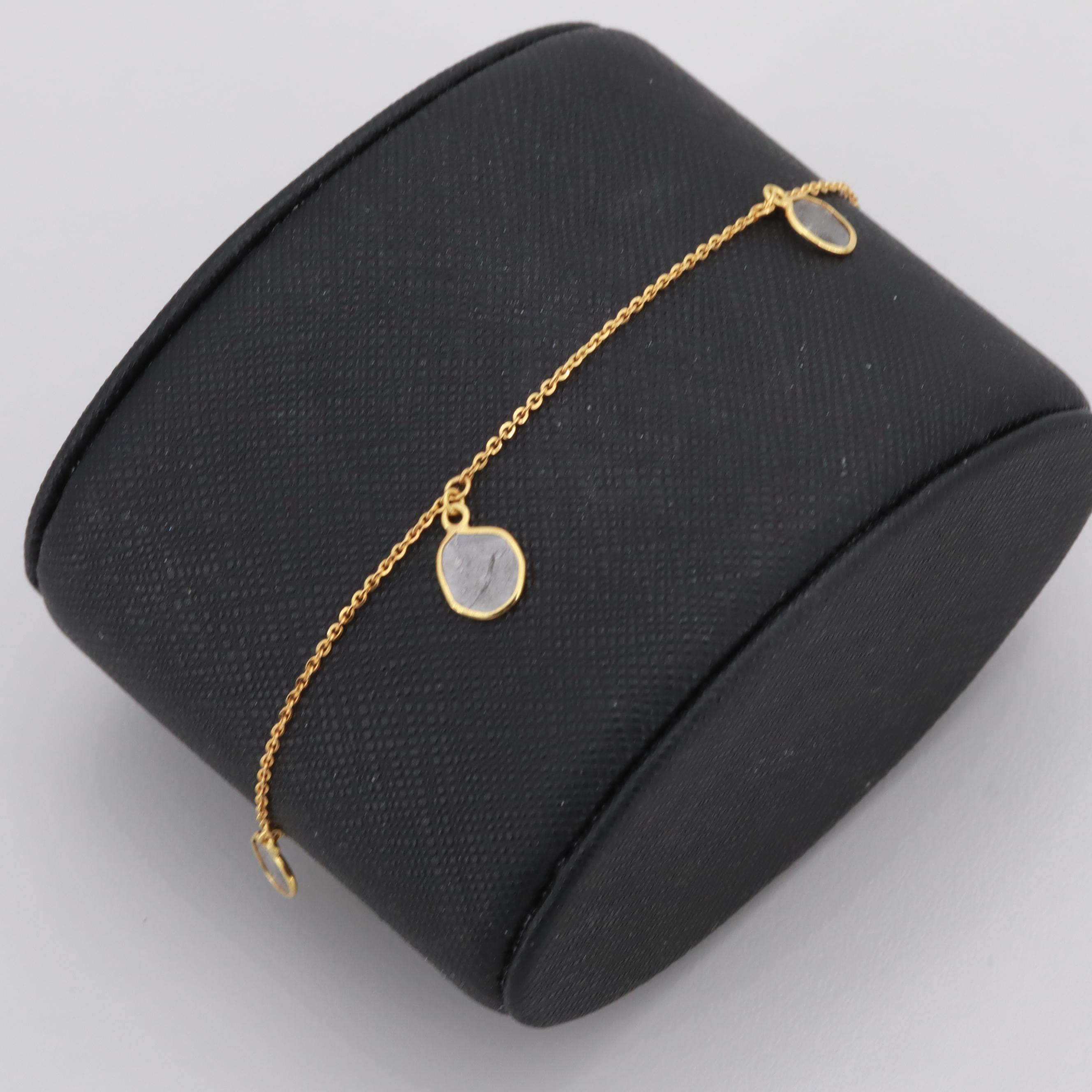 18K Yellow Gold Polki Diamond Station Bracelet