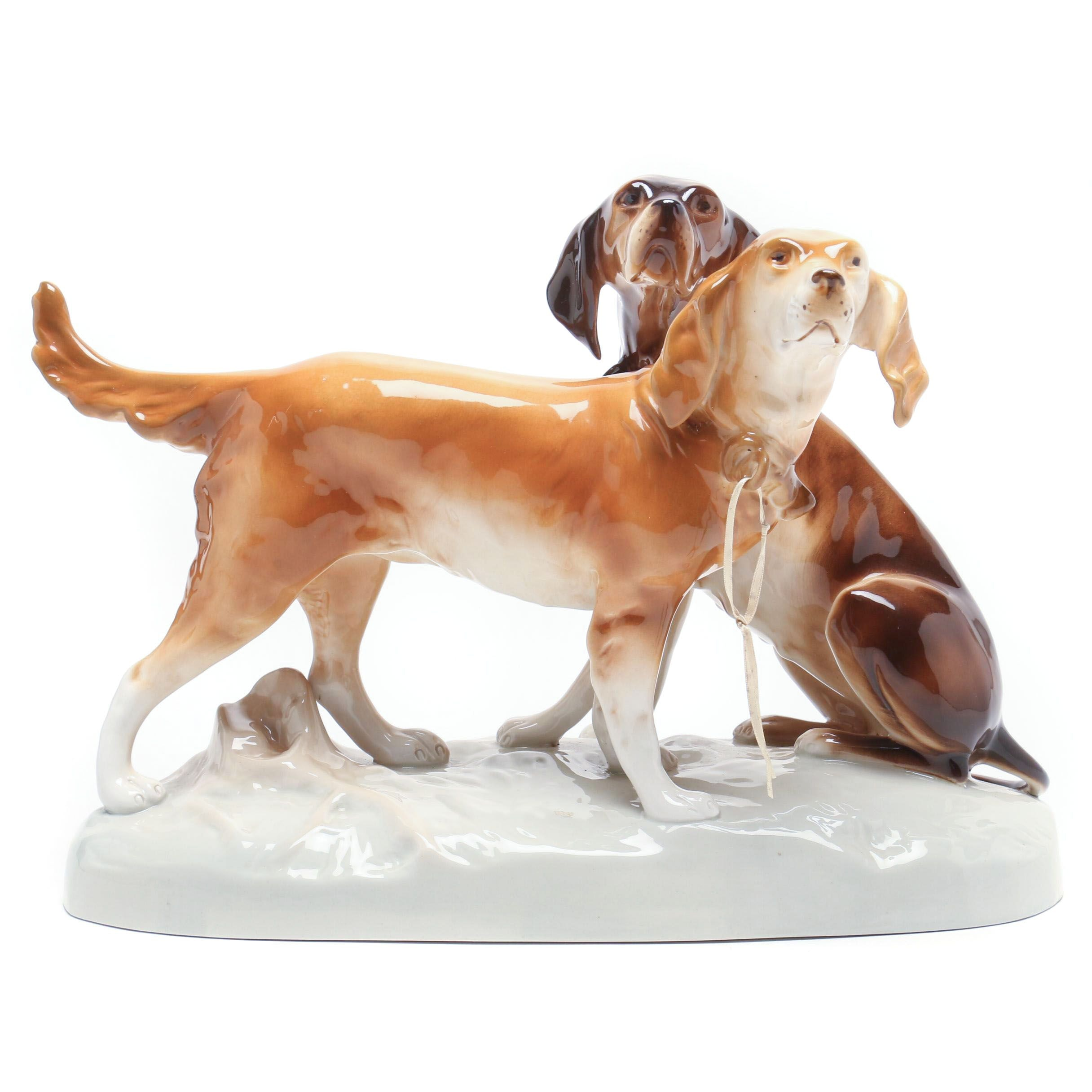 Czech Royal Dux Porcelain Duo Hunting Dogs Figurine with Setter and Pointer