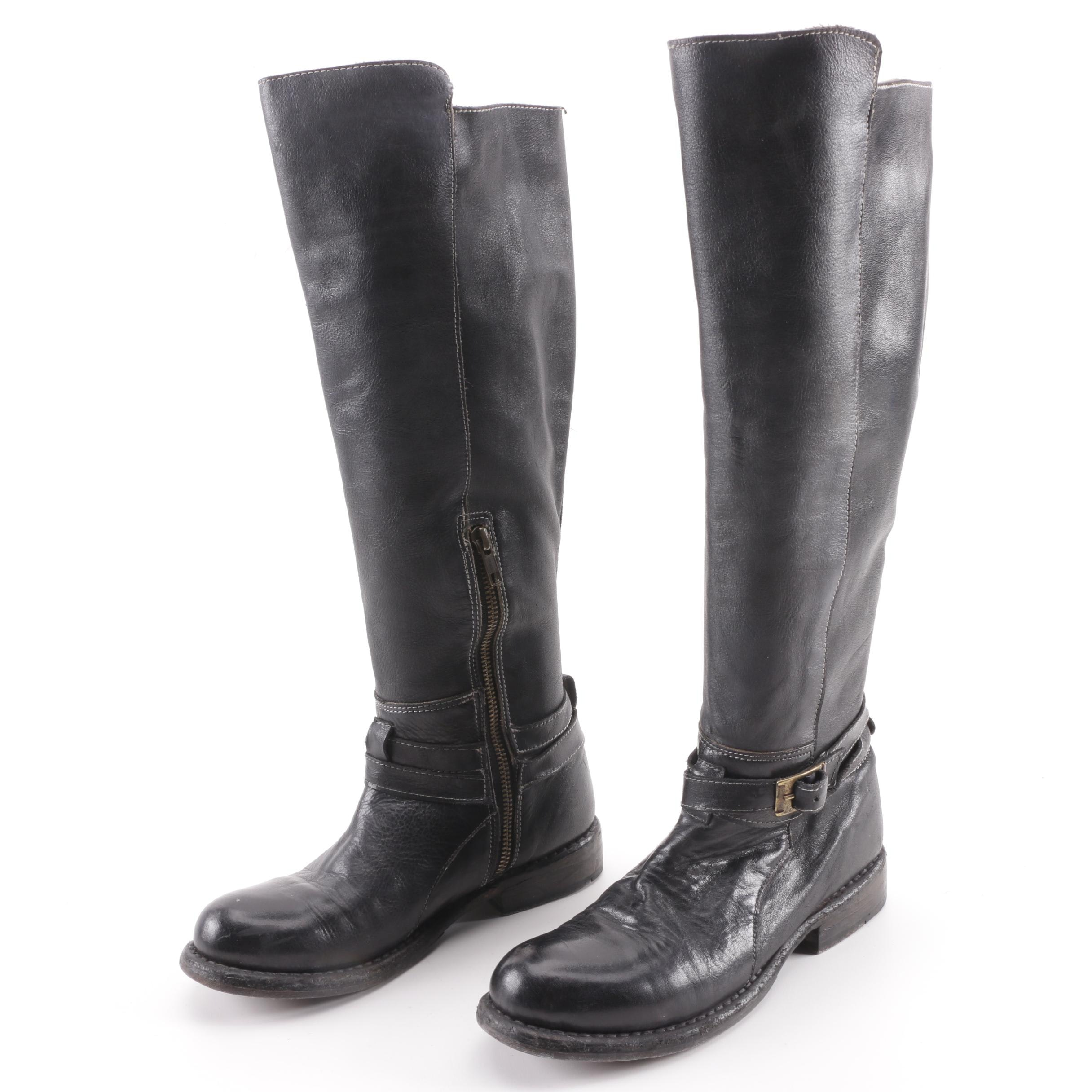 Women's Bed Stü Black Leather Knee-Length Boots with Ankle Strap Accents