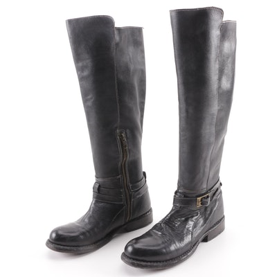 db22987a3552 Women s Bed Stü Black Leather Knee-Length Boots with Ankle Strap Accents