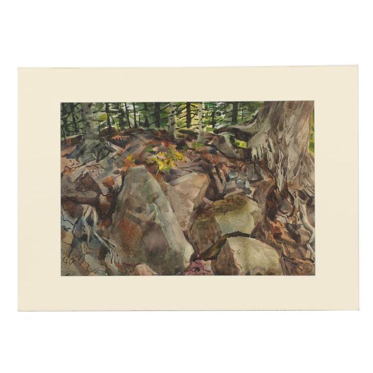 """Carl Zimmerman Watercolor Painting """"Virgin Forest Floor"""""""