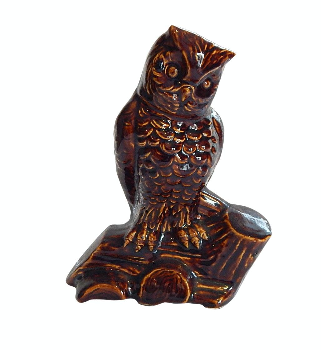 Mid-Century Brown Glazed Figural Owl Vase - Unmarked