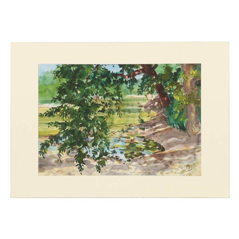 "Carl Zimmerman Watercolor Painting ""Shaded Pool"""