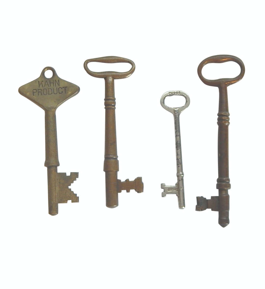 """Antique Brass and Steel Skeleton Keys with """"Kahn Product"""" and """"J.E. Co. Germany"""""""