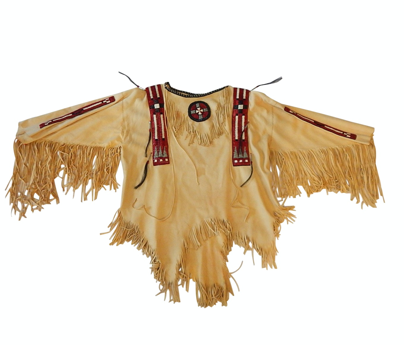 Plains Style Leather Beaded and Leather Fringed Shirt