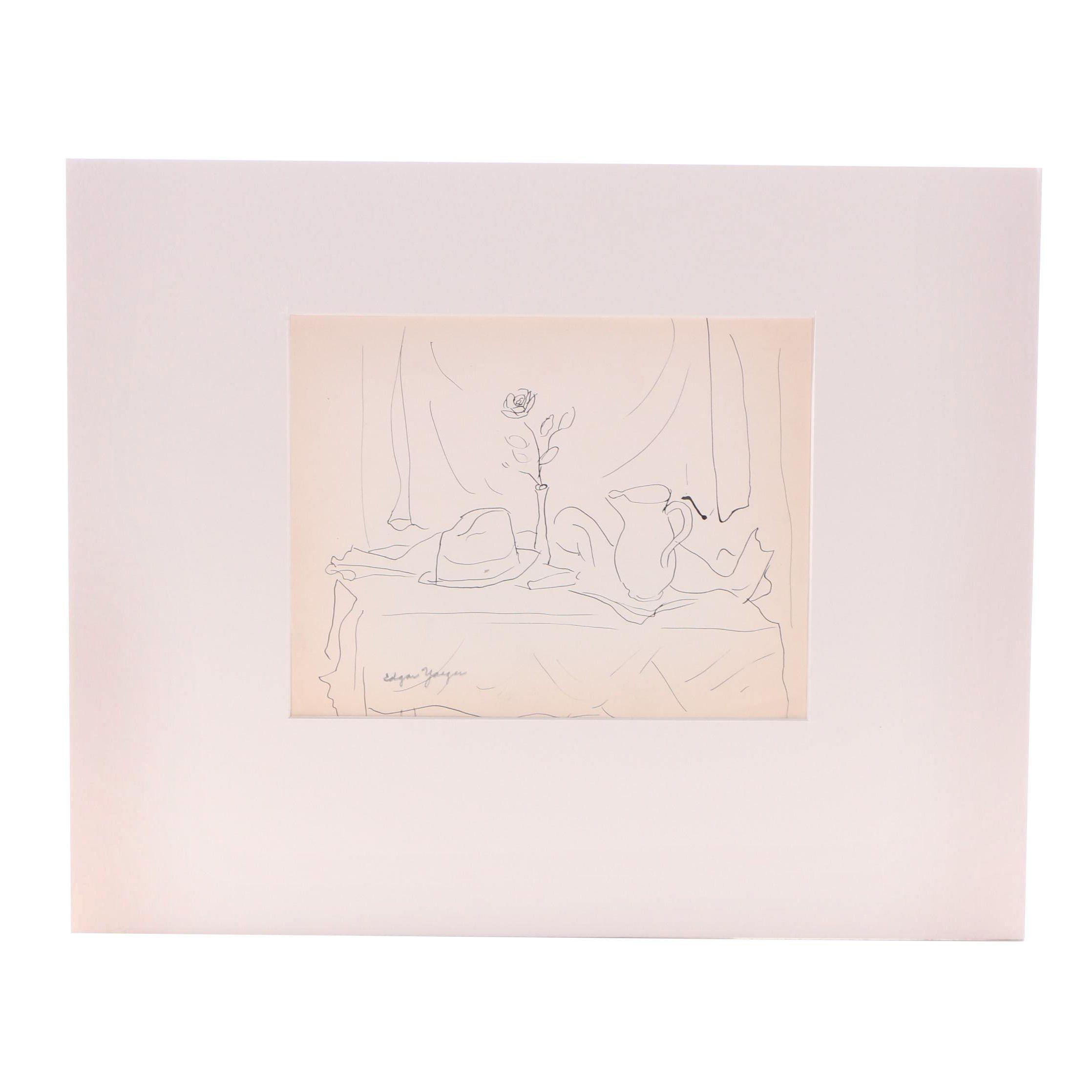 Edgar Yaeger Ink Drawing