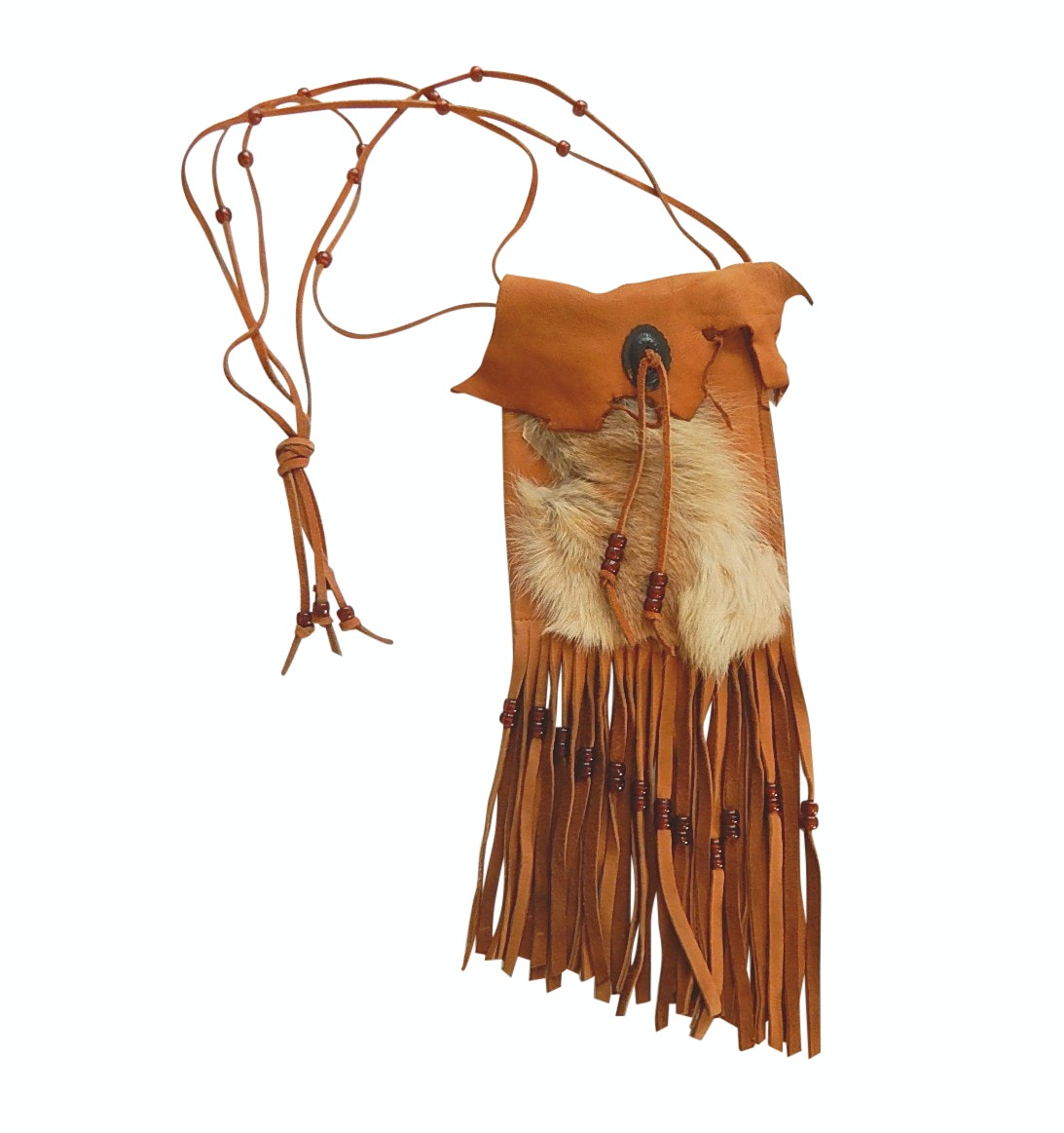 Southwestern Style Hide Leather Drawstring Bag with Rabbit Fur and Beading