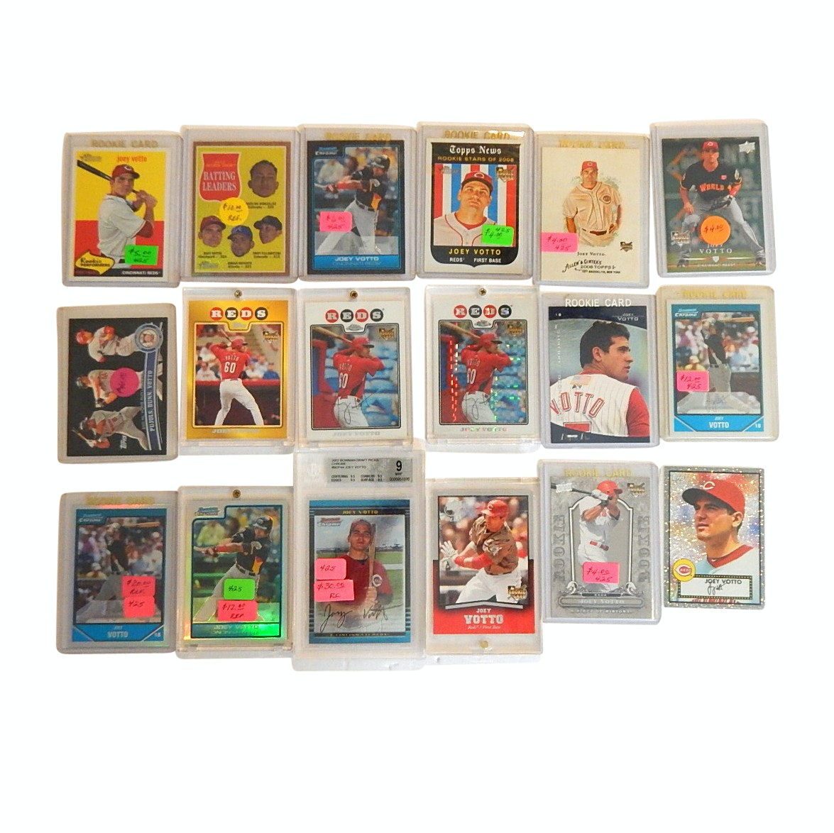 Joey Votto Baseball Card Lot with Refractors, Gold Rookie, Graded Rookie Card