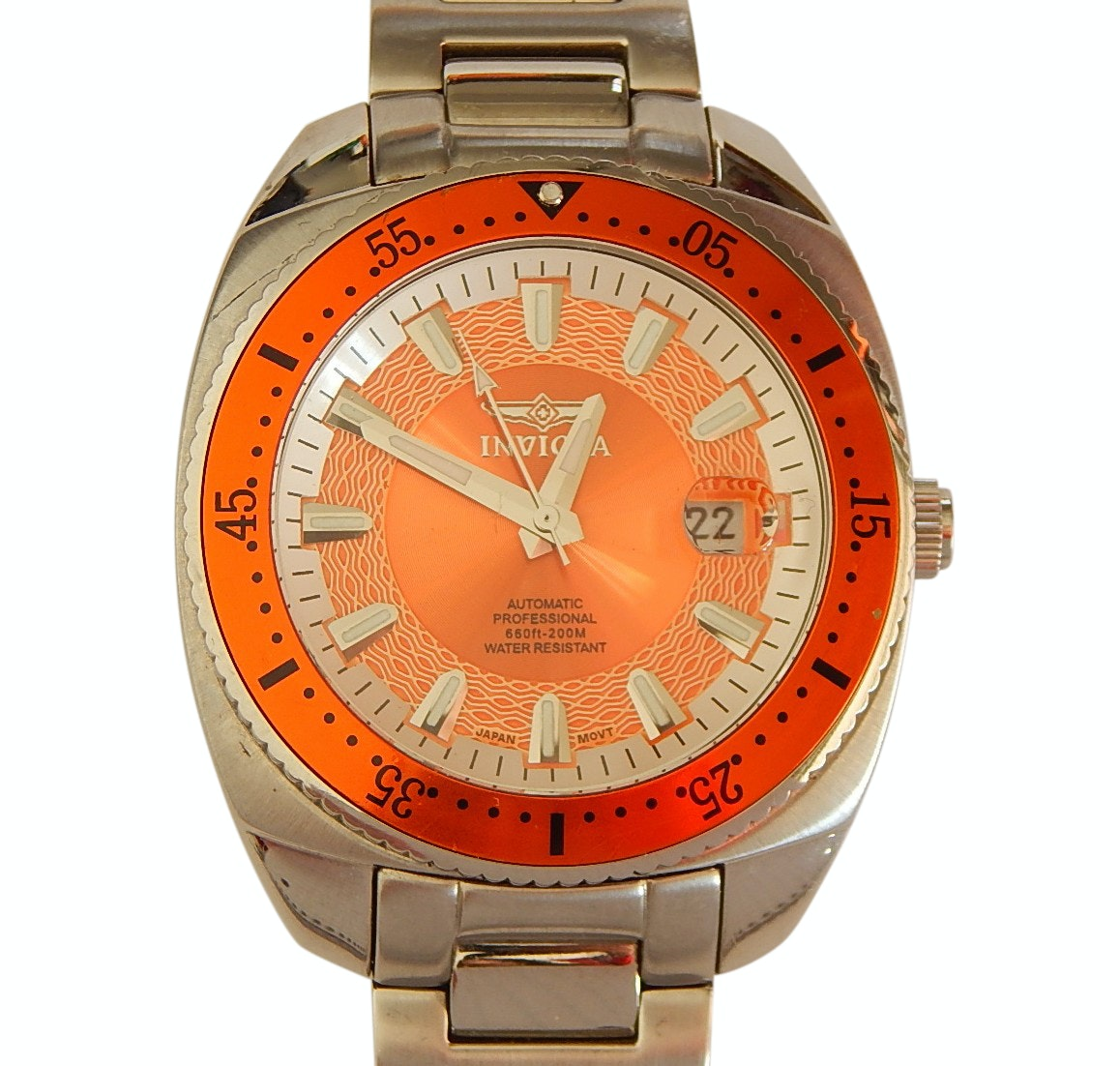 Invicta Model 3882 Pro Divers Stainless Steel Wristwatch with Orange Display