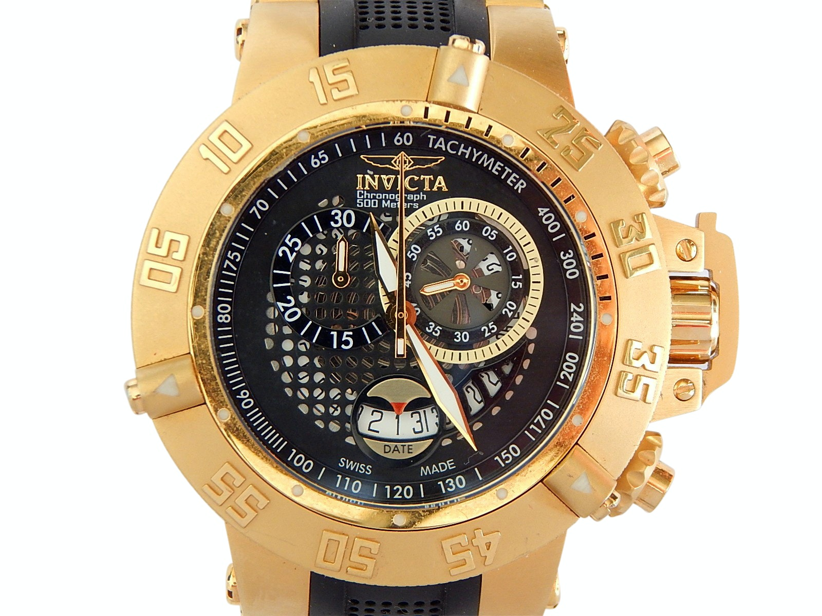 Invicta Gold-Tone Chronograph Swiss Made Subaqua Noma III Wristwatch
