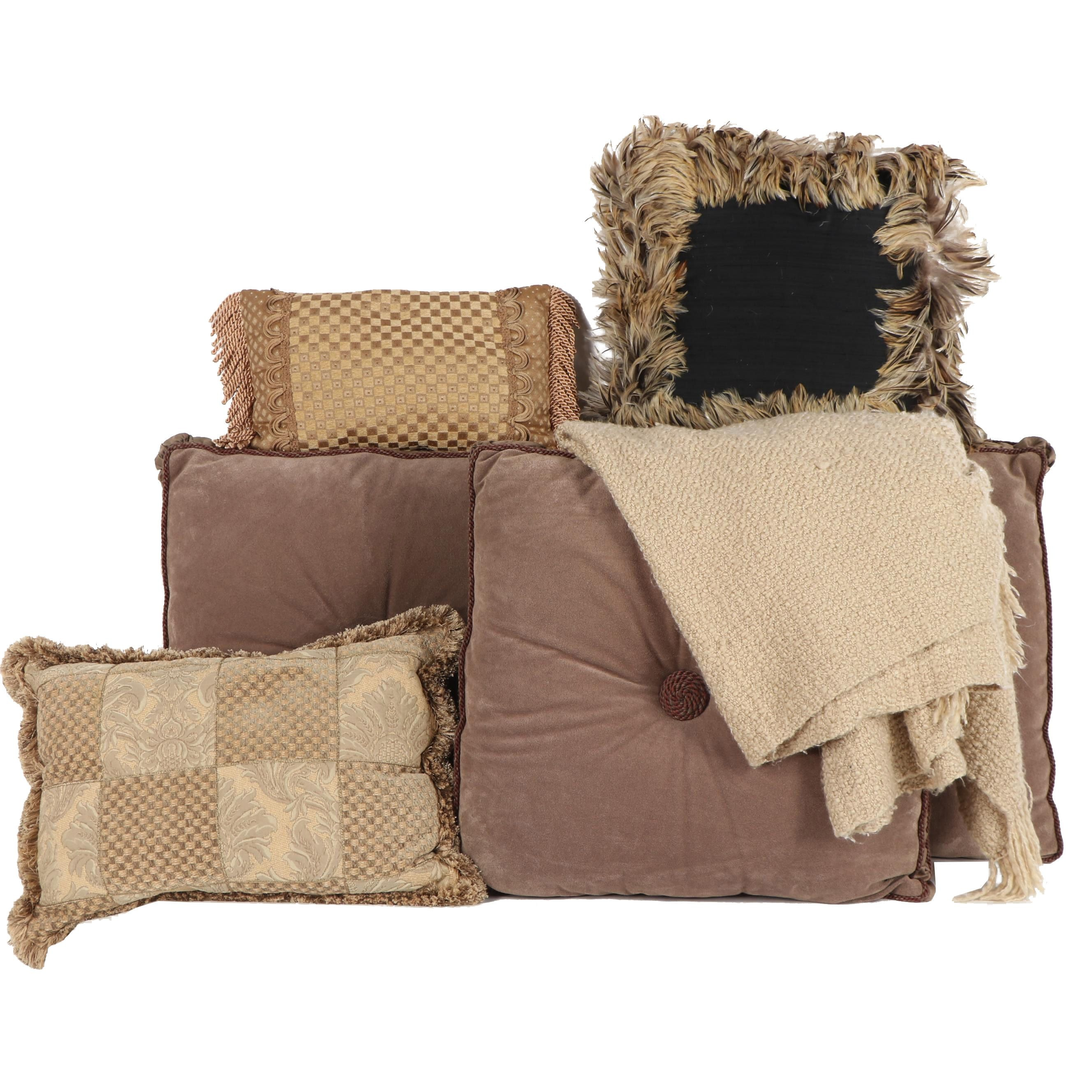Austin Horn Collection Accent Pillows with Throw Blanket