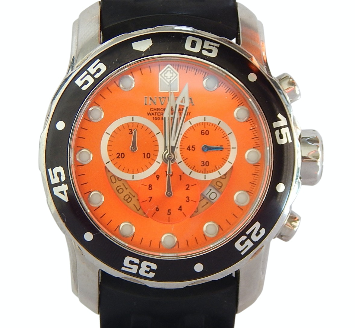 Invicta Pro Diver Model 6980 Silver and Black Wristwatch with Orange Display
