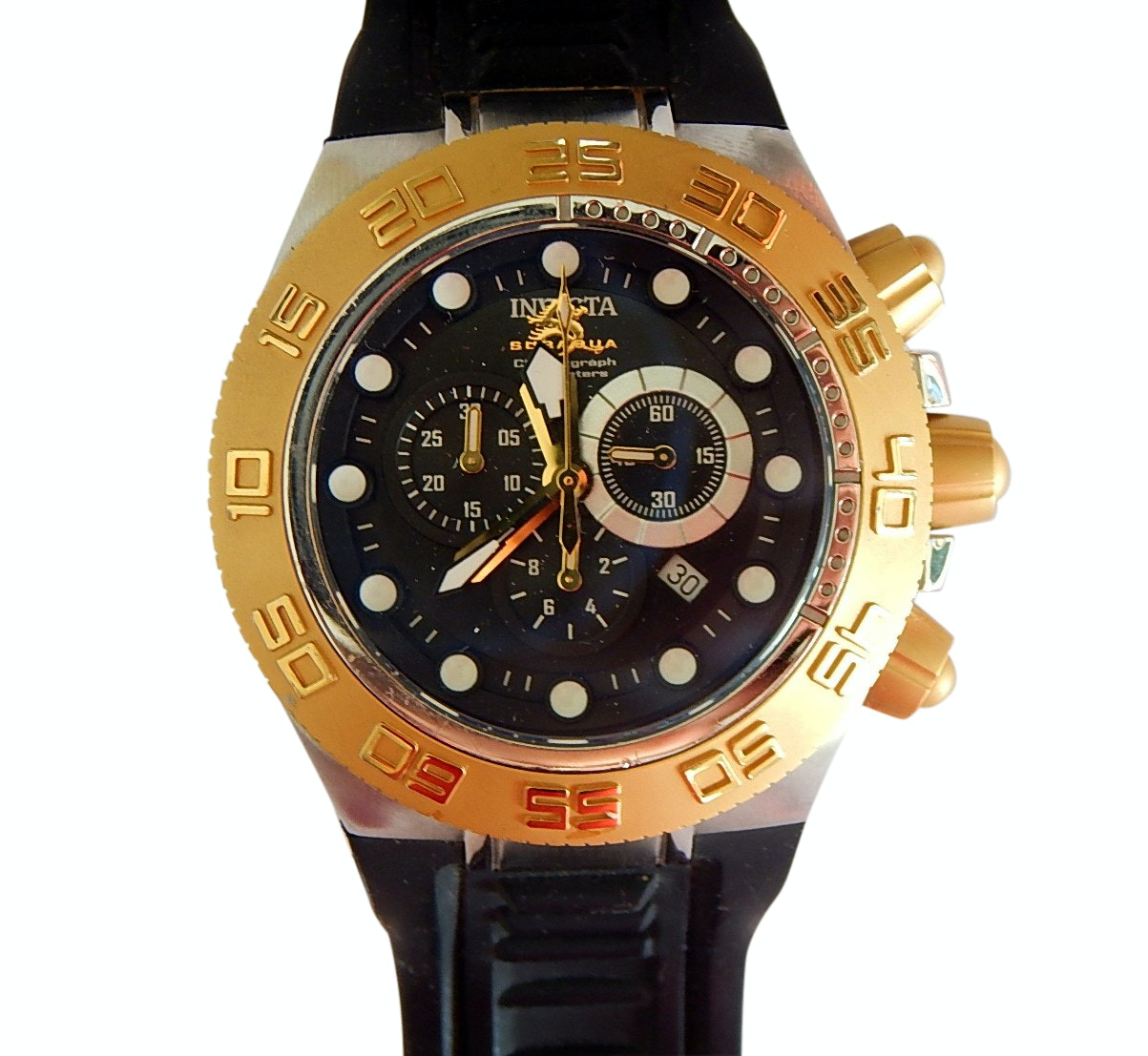 Invicta Gold-Tone/Black Chronograph Subaqua Sport Model Wristwatch Model 1531
