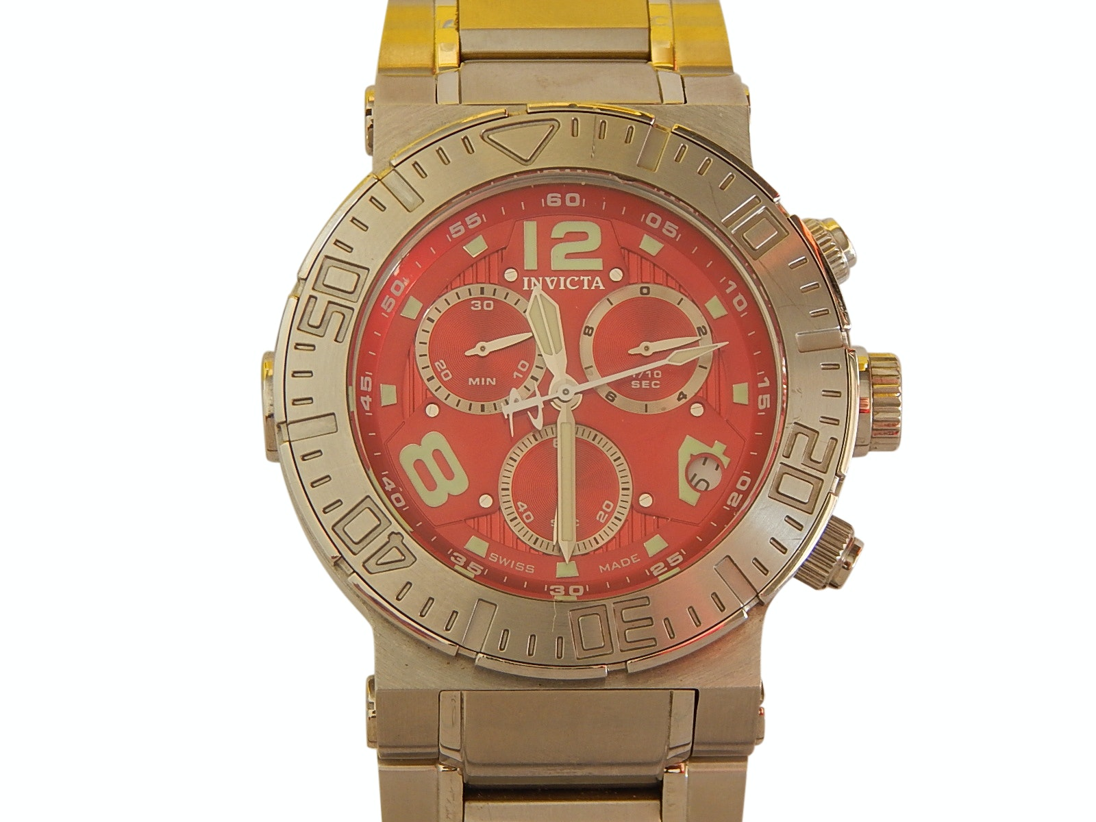 Invicta Silver-Tone Stainless Steel Wristwatch with Red Display Model