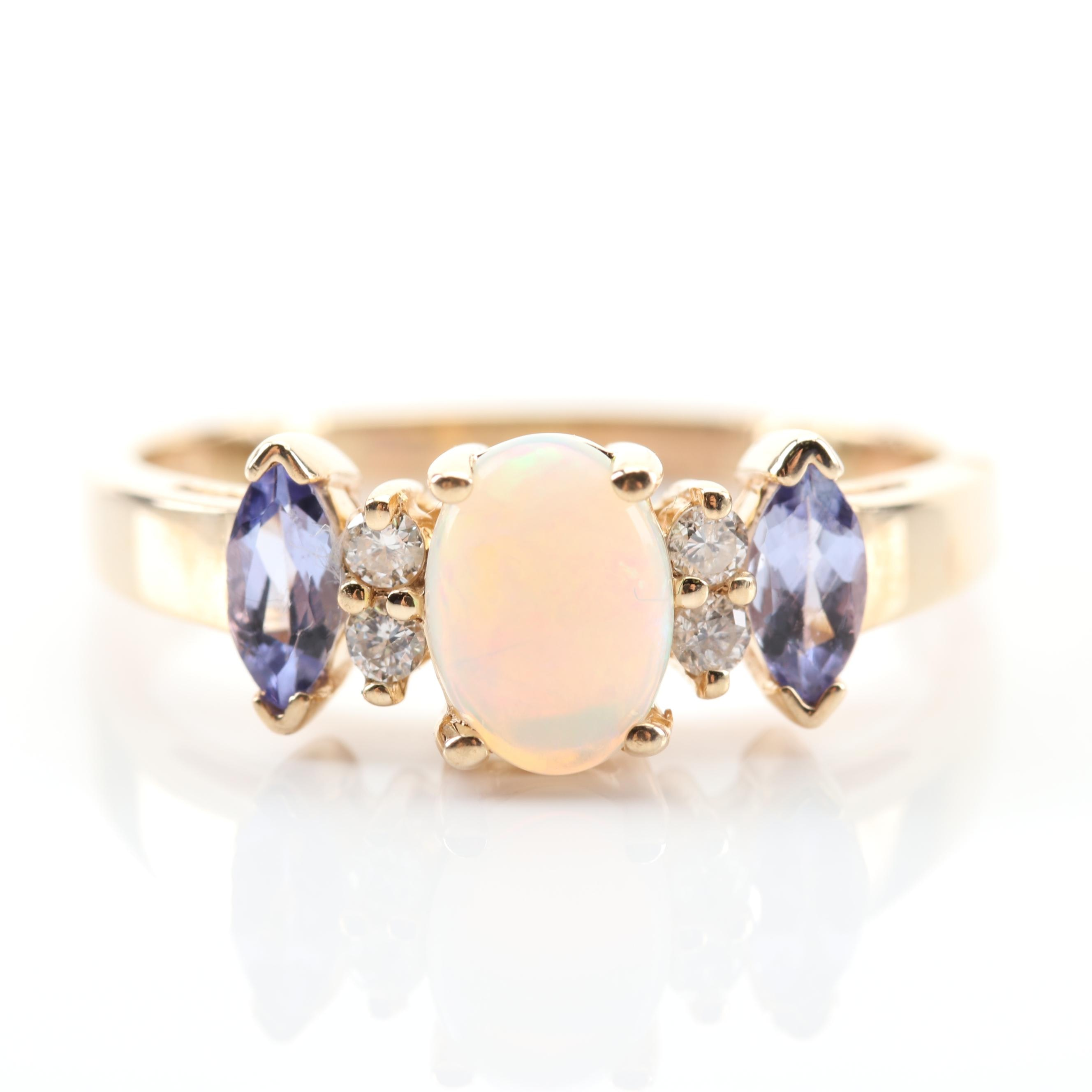 EFFY 14K Yellow Gold Opal, Tanzanite and Diamond Ring
