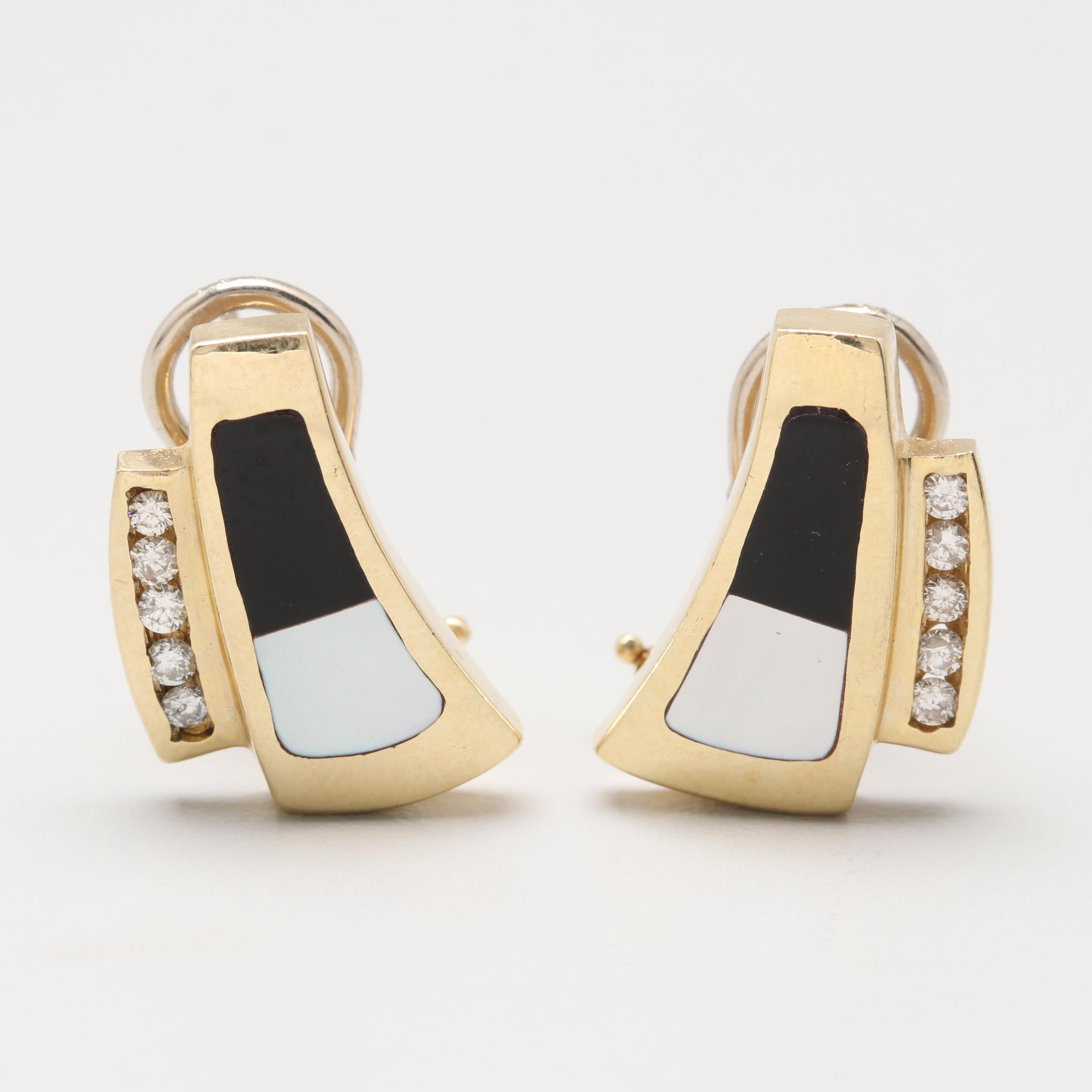 14K Yellow Gold Diamond Earrings with Onyx and Mother of Pearl Inlay