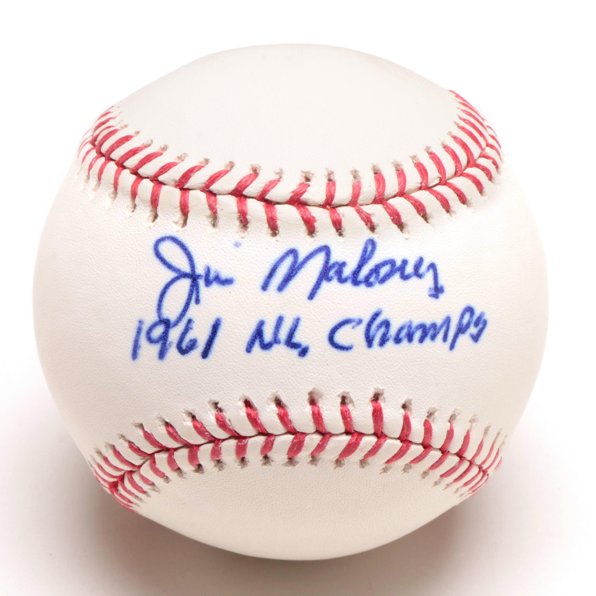 Jim Maloney Signed Rawlings Baseball JSA COA