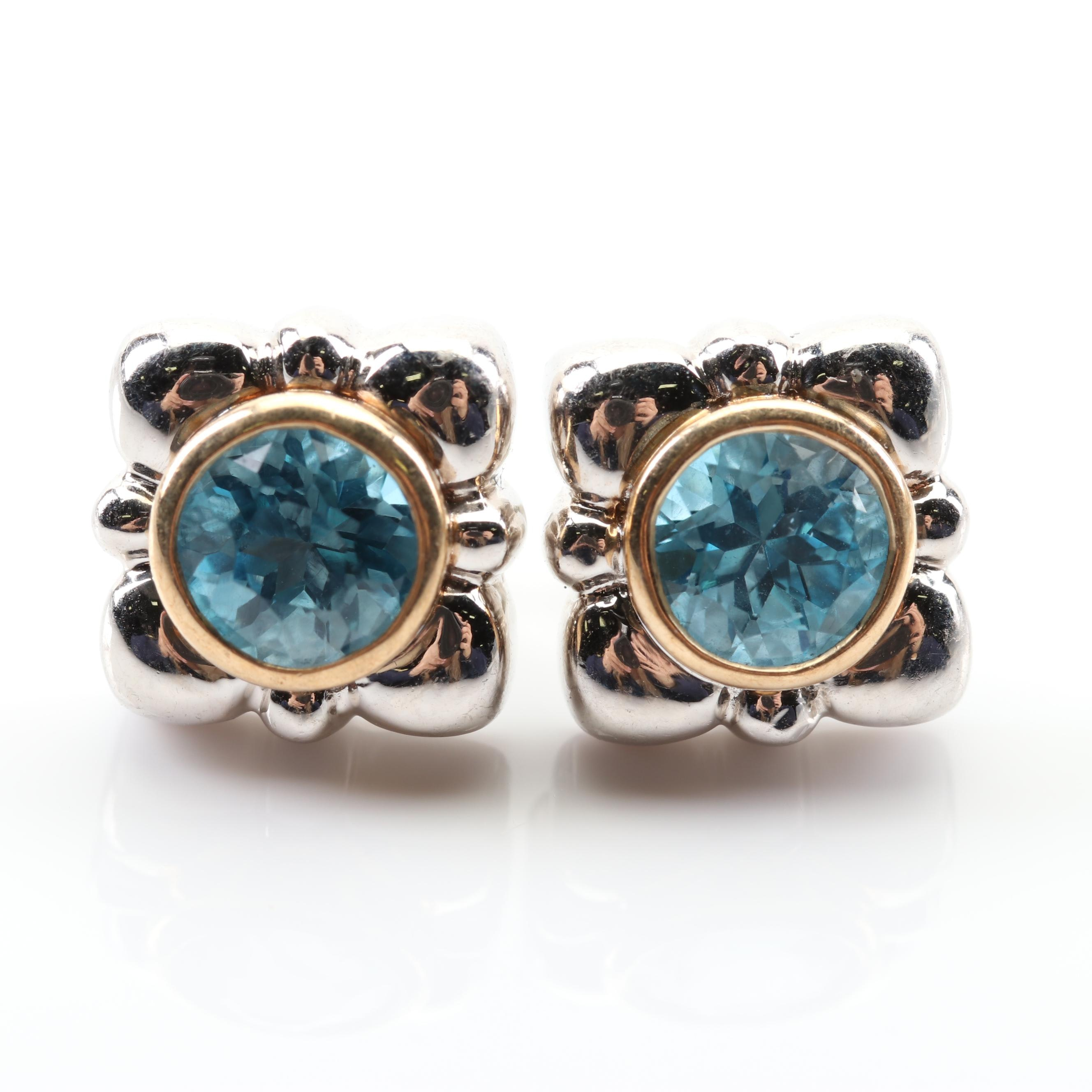 Sterling Silver and 14K Yellow Gold Blue Topaz Earrings