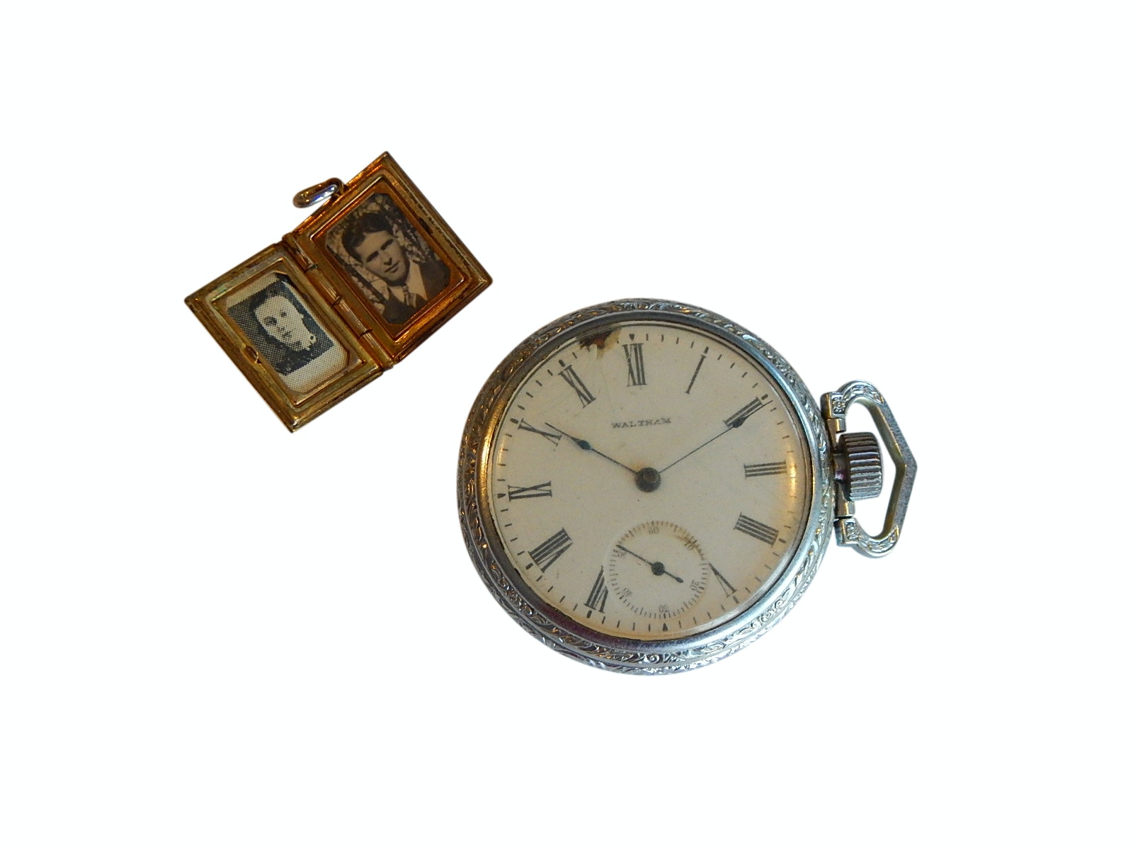 Vintage Waltham Silver-Tone Pocket Watch and Small Locket Pendant