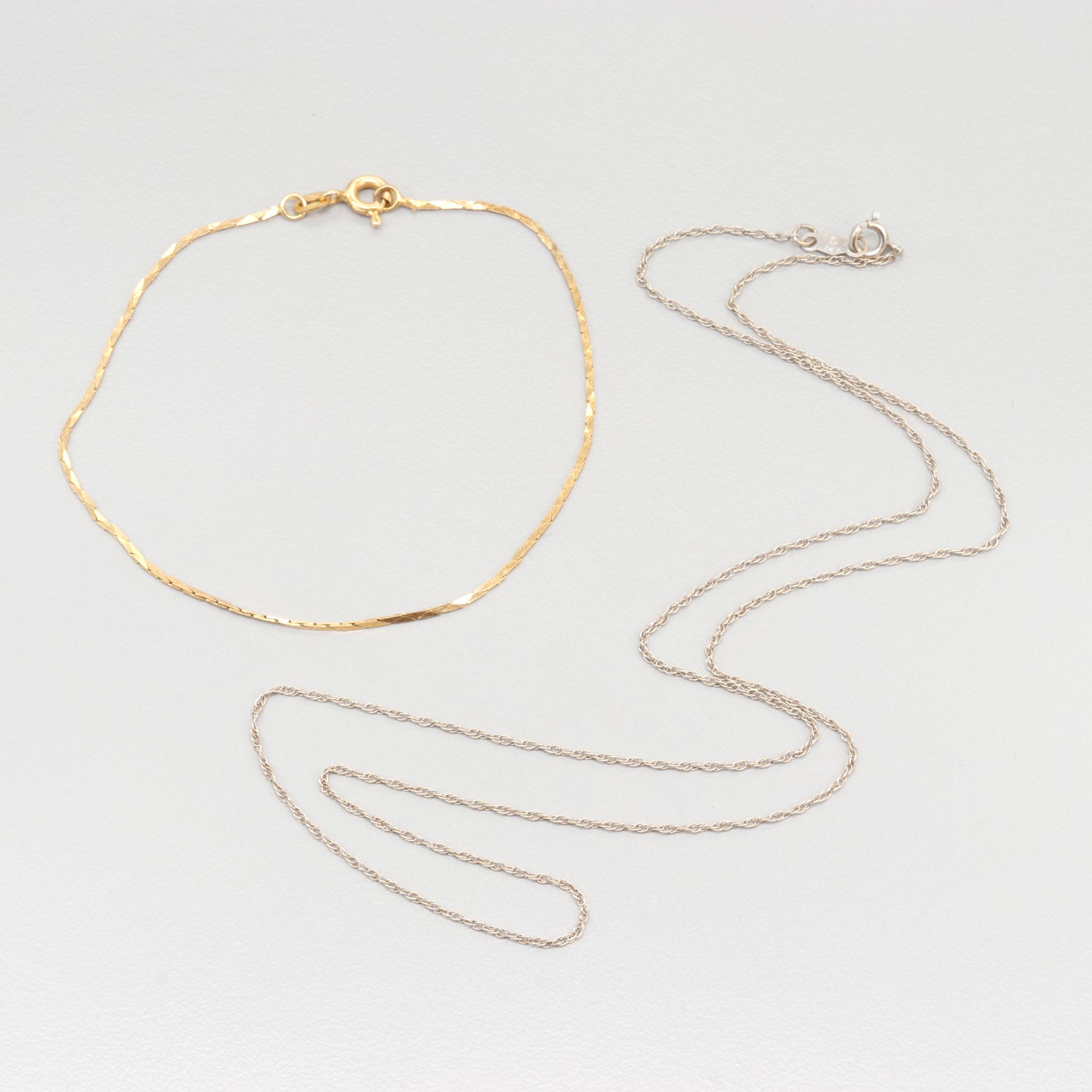 14K White Gold Rope Link Necklace with 14K Yellow Gold Cobra Link Bracelet