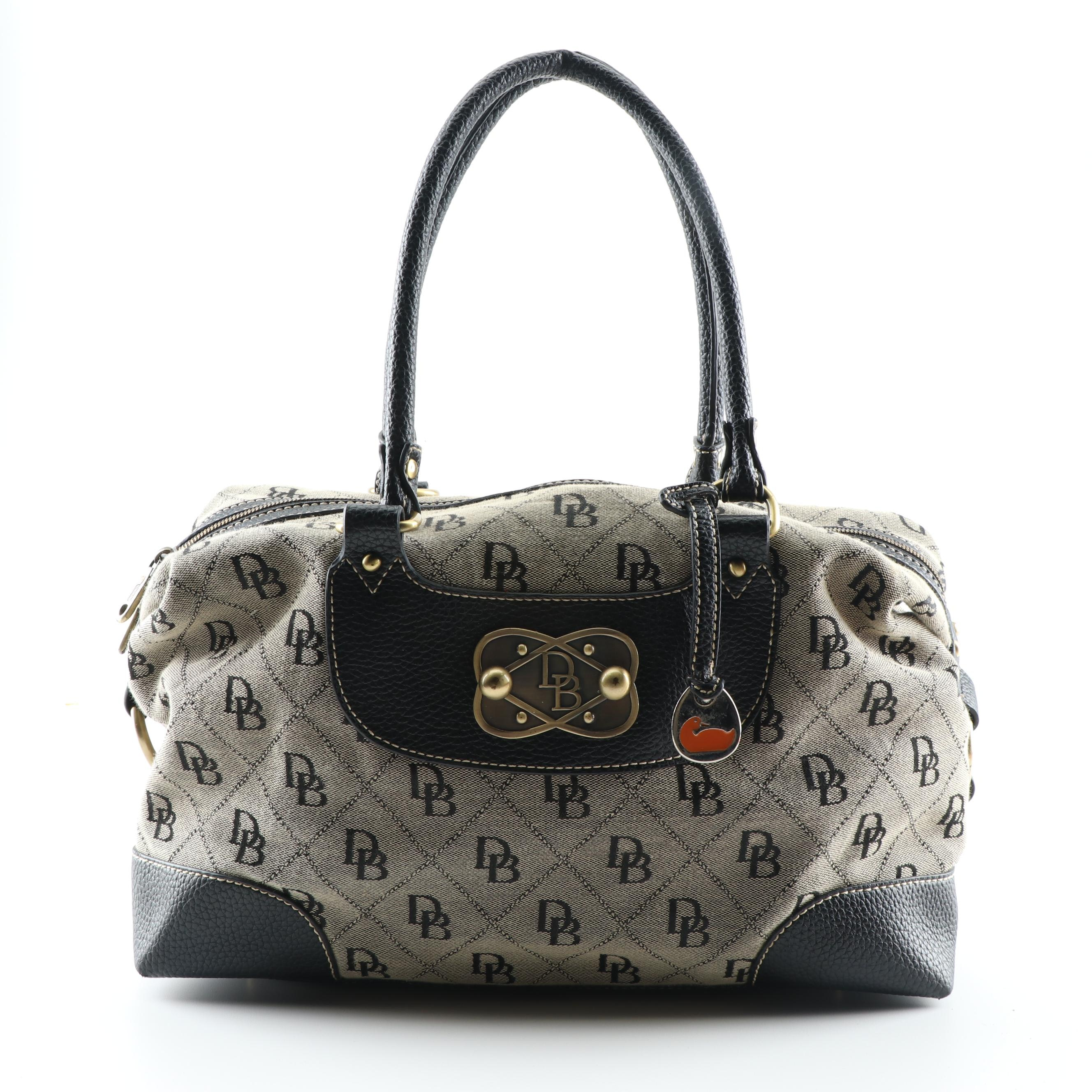 Dooney & Bourke Grey and Black Signature Canvas and Pebbled Leather Handbag