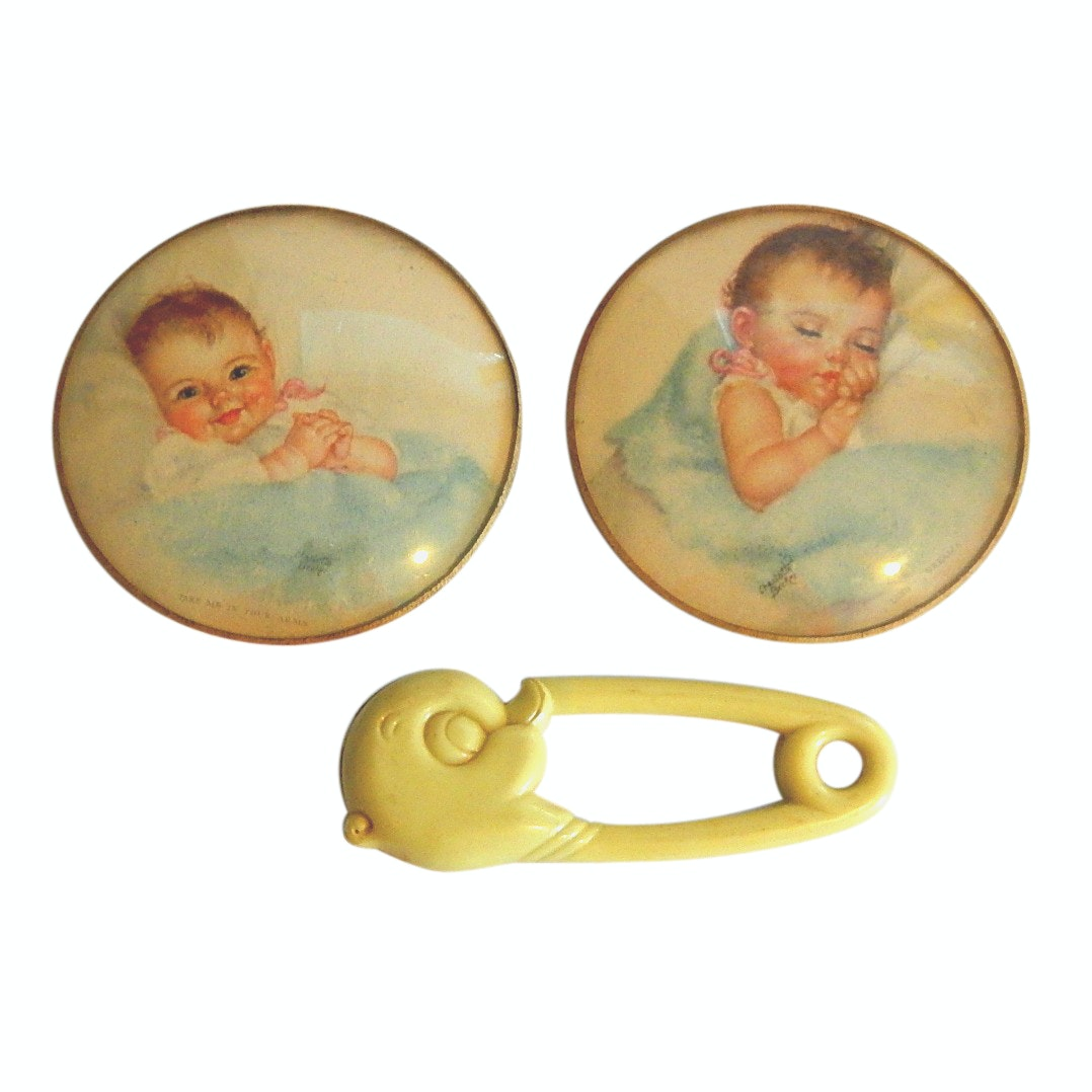 Vintage Charlotte Becker Framed Baby Prints and Baby Rattle