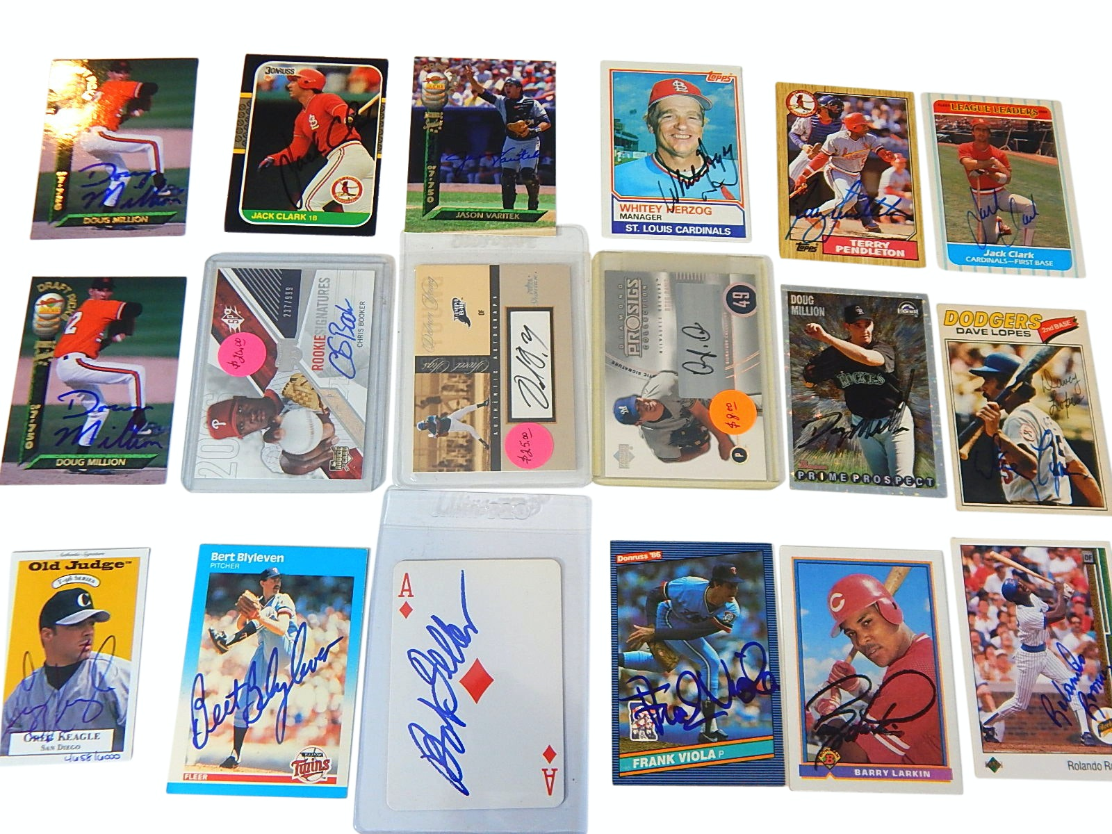 Baseball Autograph, Star, Hall of Fame, and Rookie with 18 Signed Cards