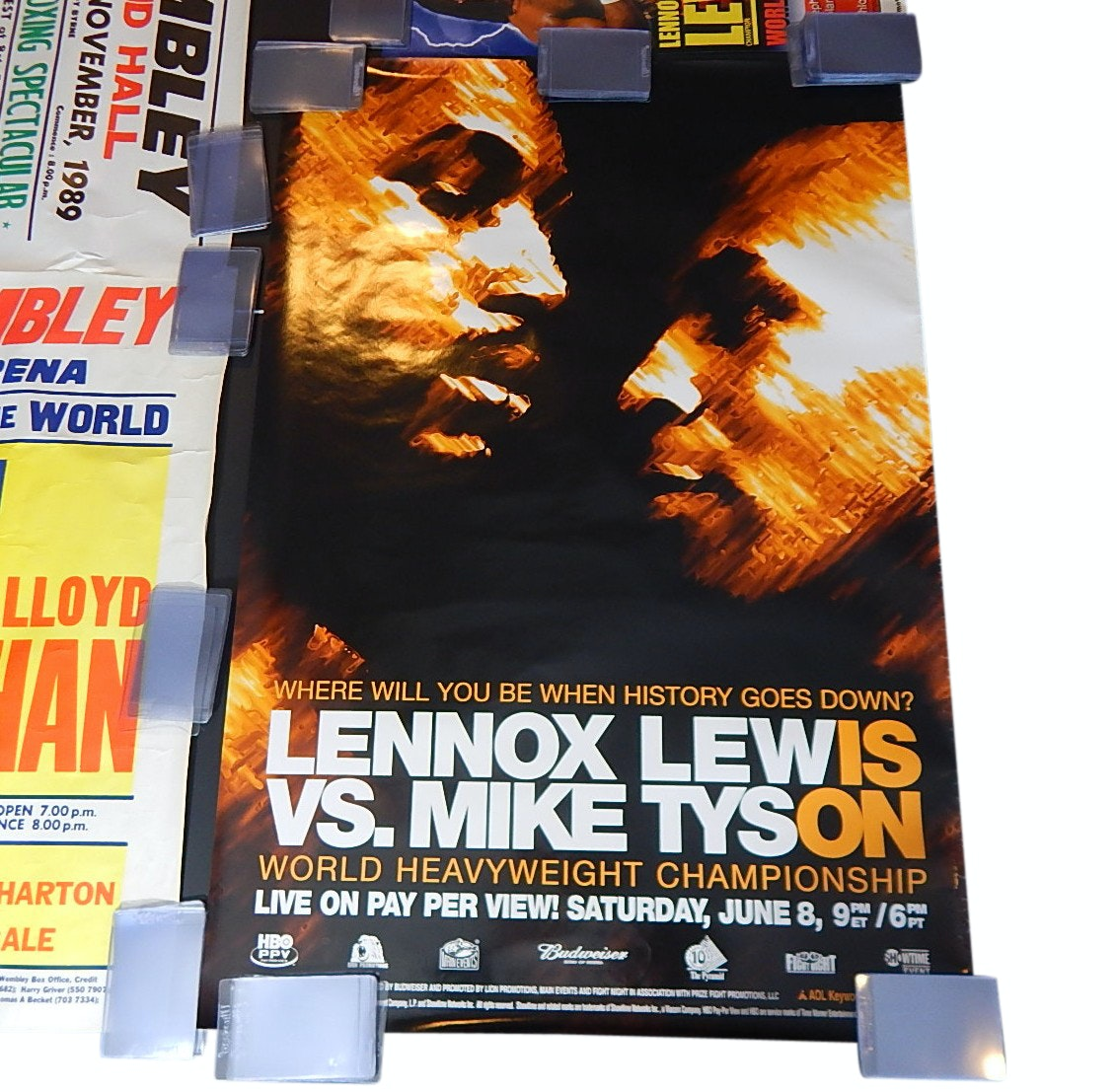 Four Vintage Boxing Fight Posters with Lewis vs. Tyson, Breland, Honeychan