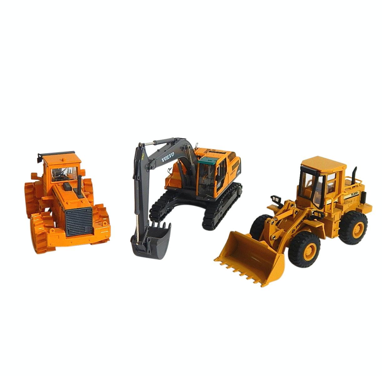 Three Die Cast Vehicles with Volvo Wheel Loader, Excavator,Furukawa Wheel Loader