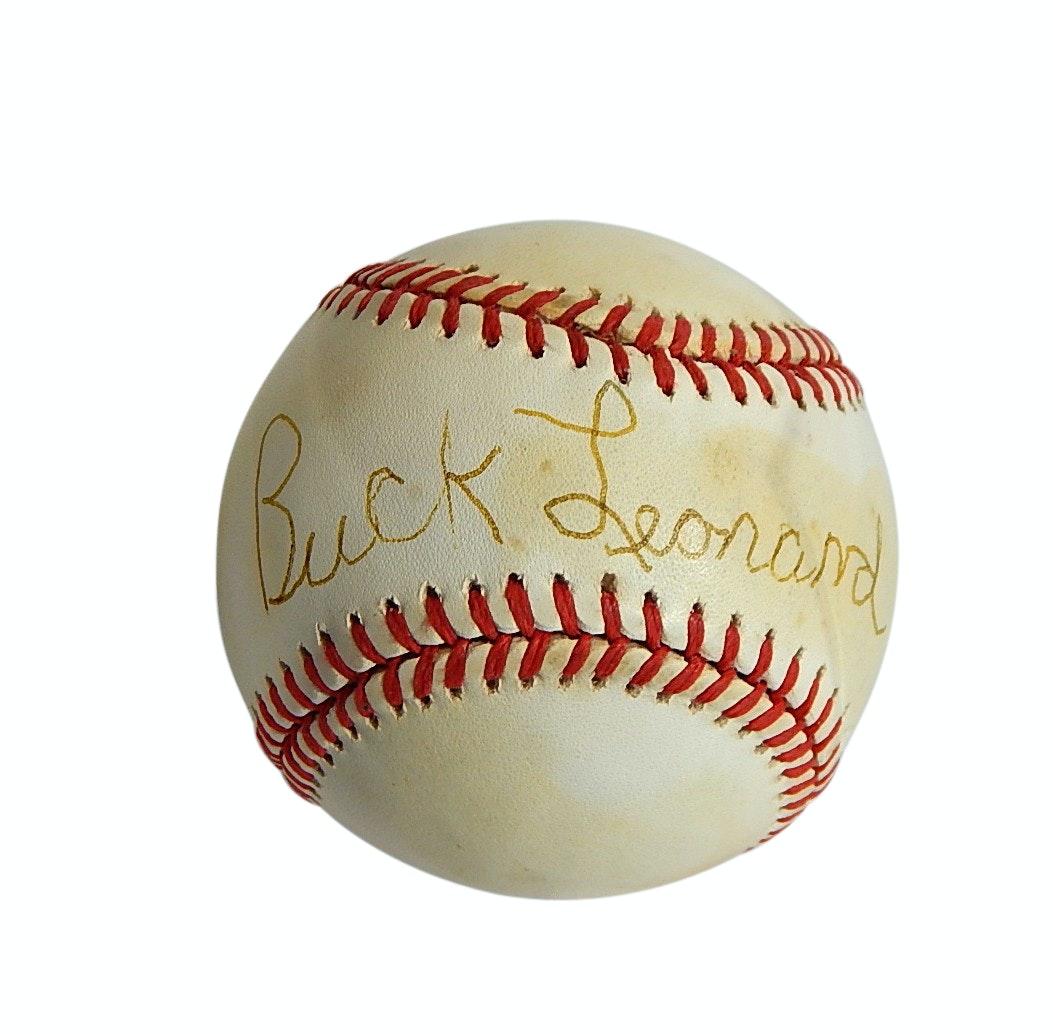 HOF Negro League Buck Leonard Signed Leonard Coleman Baseball