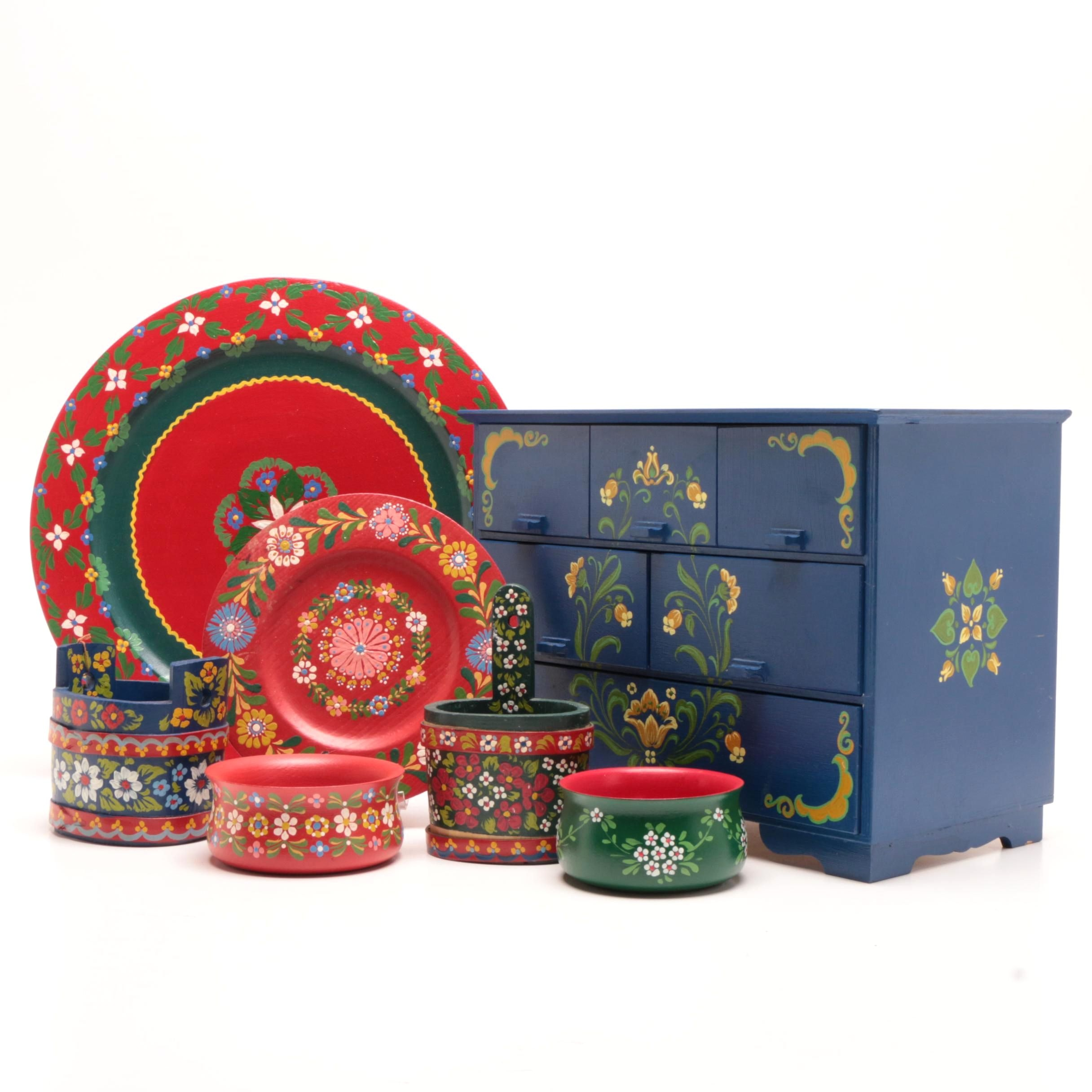 Tole Painted East European Wooden Chest and Decor
