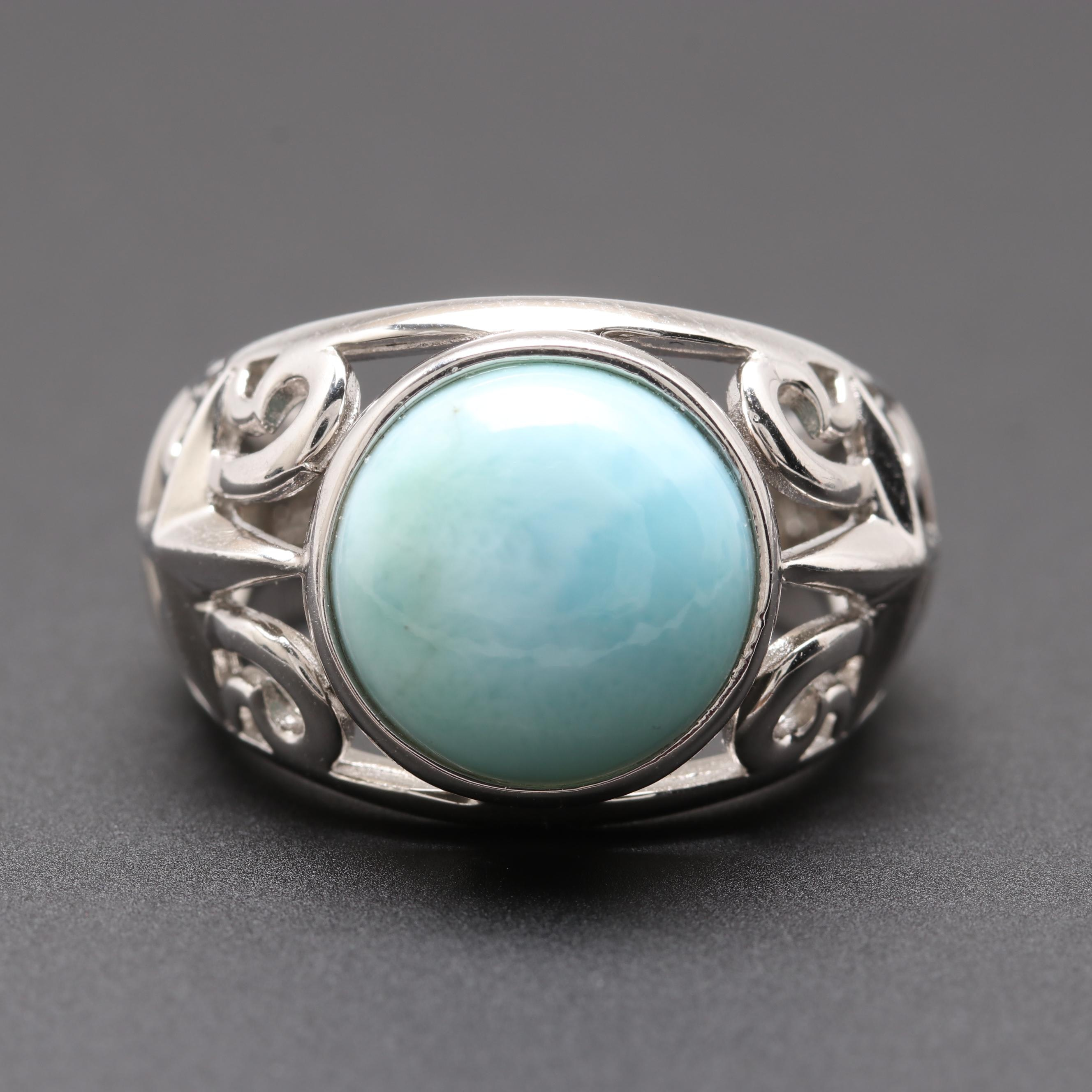 Sterling Sliver Larimar Ring
