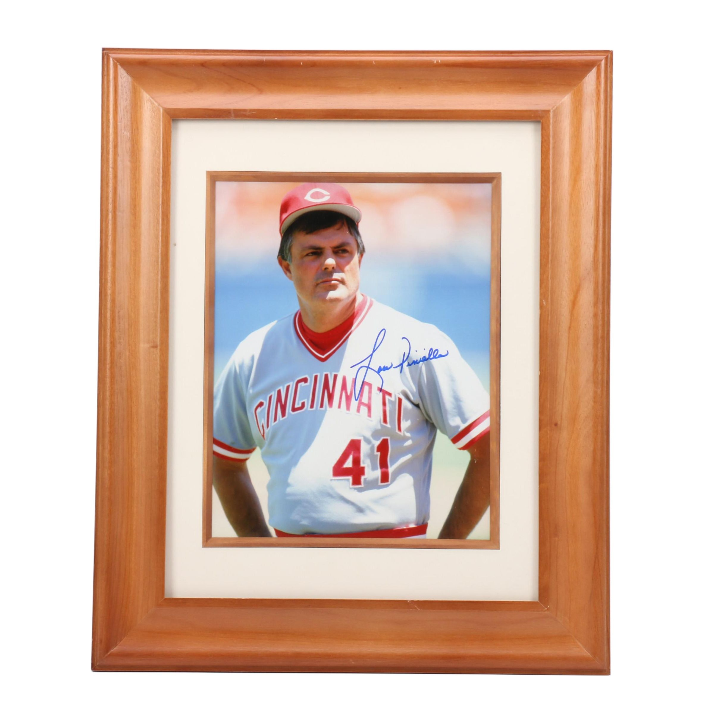 Framed Lou Piniella Signed Reds Photo  COA