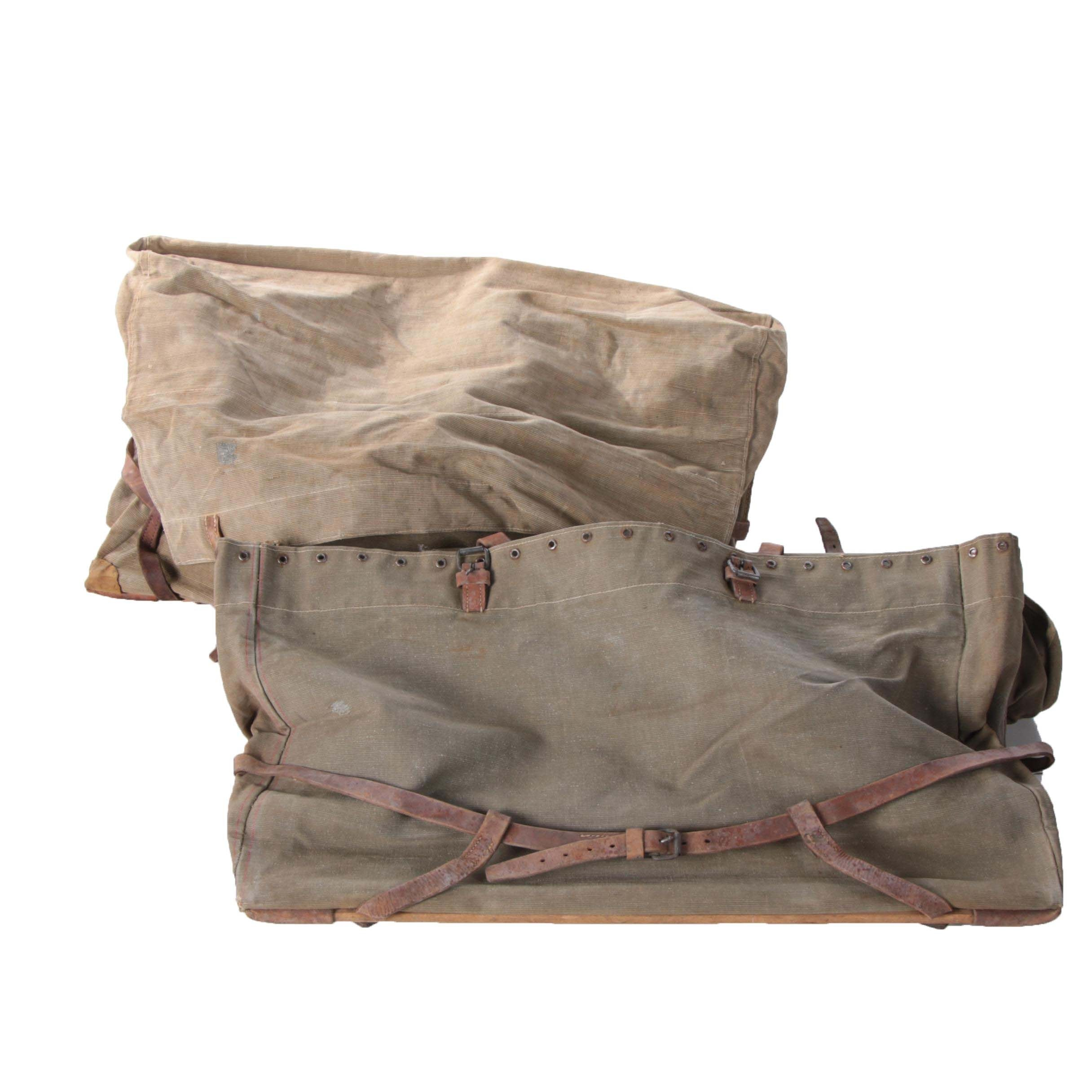 Travel Bags with Wood and Leather, Mid-20th Century