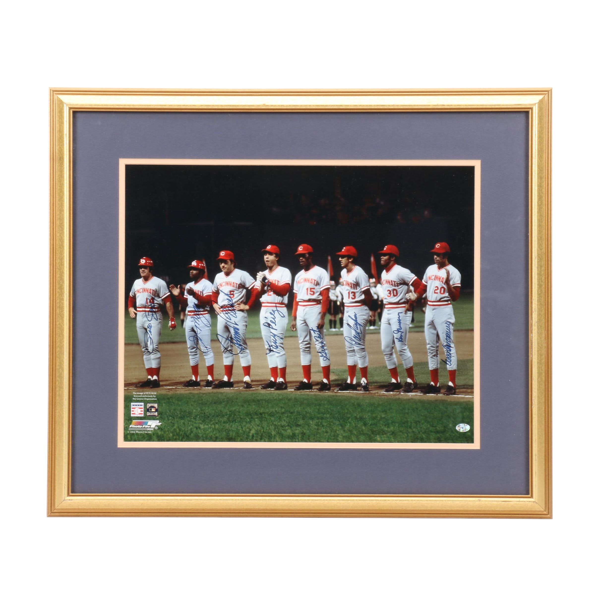 "Framed and Signed Reds ""Great 8"" 1975 World Series Photo  COA"