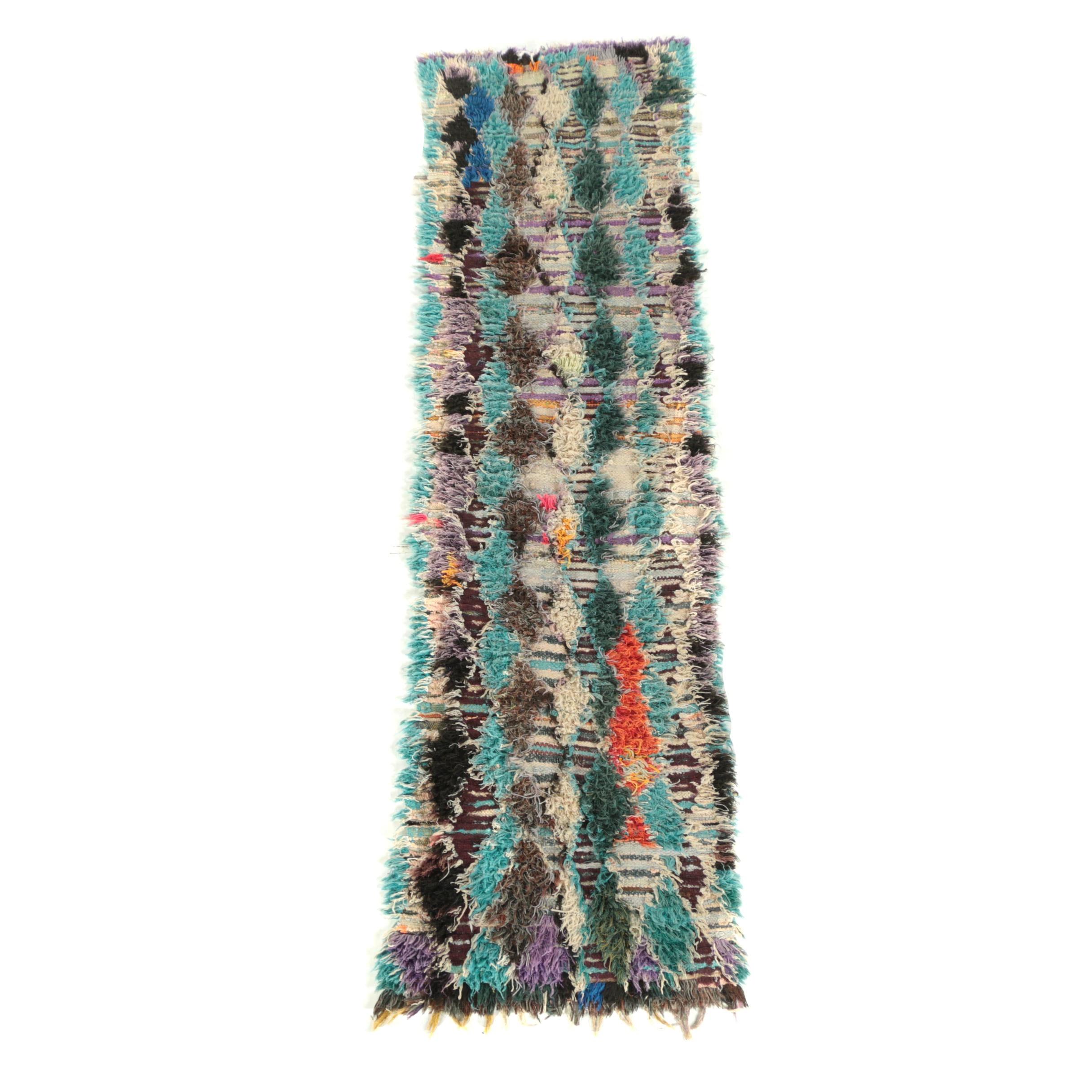 Hand-Knotted Moroccan Boucherouite Cotton Runner