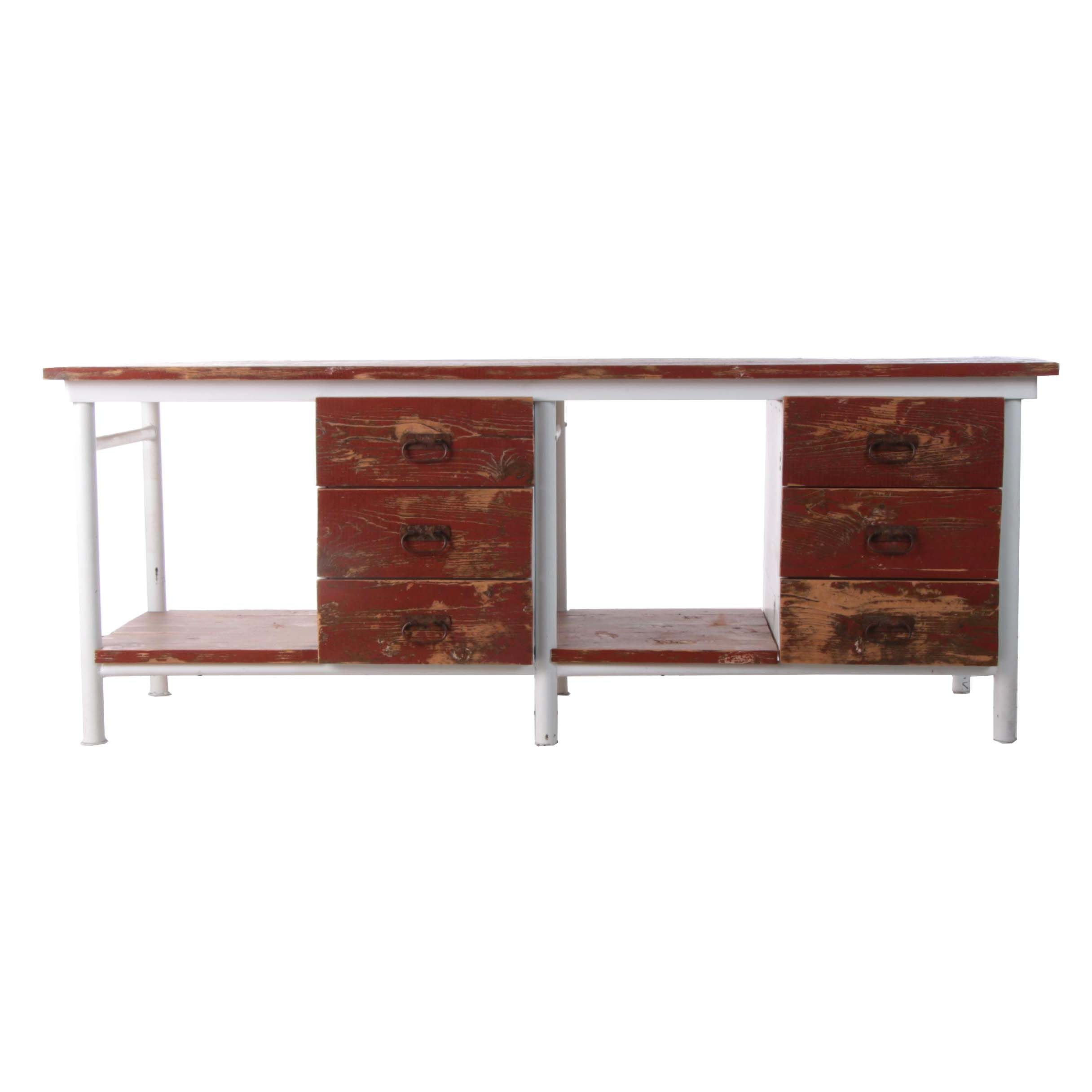 Industrial Style Painted Pine and Metal Work Table with Drawers, 21st Century