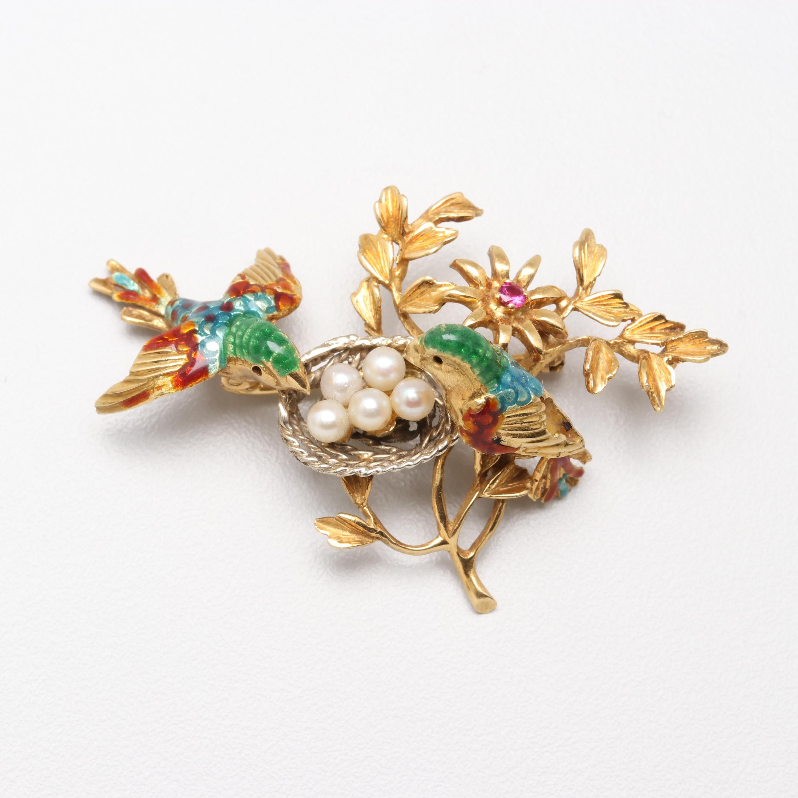 Italian 18K Yellow Gold Cultured Pearl and Synthetic Ruby Birds with Nest Brooch