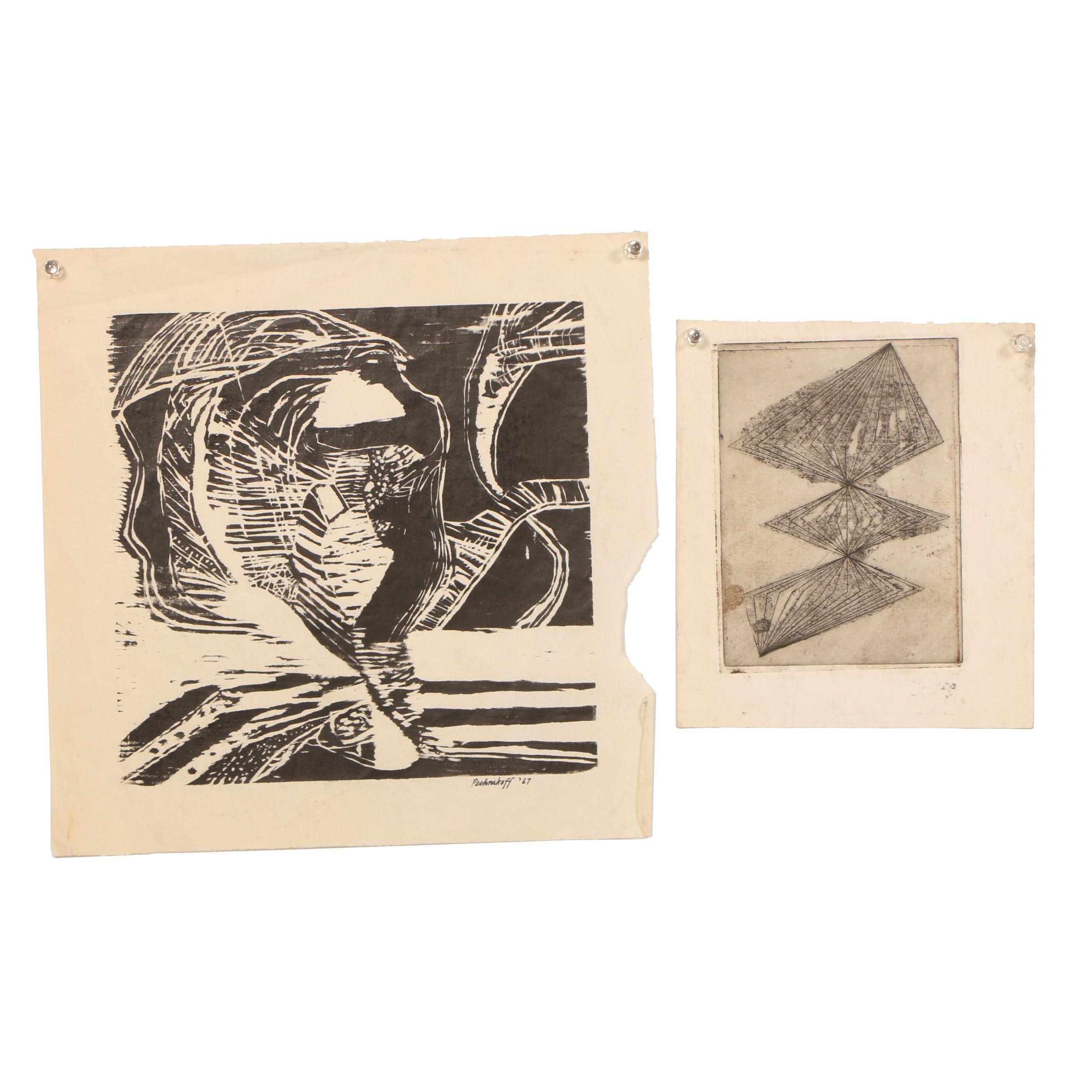 Late 20th Century Etching and Woodblock