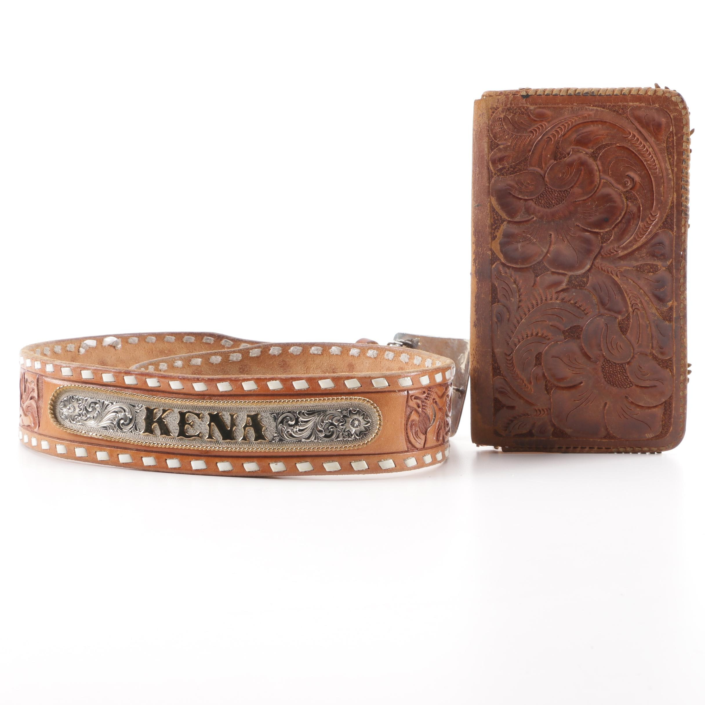 Tooled Leather Belt and Wallet