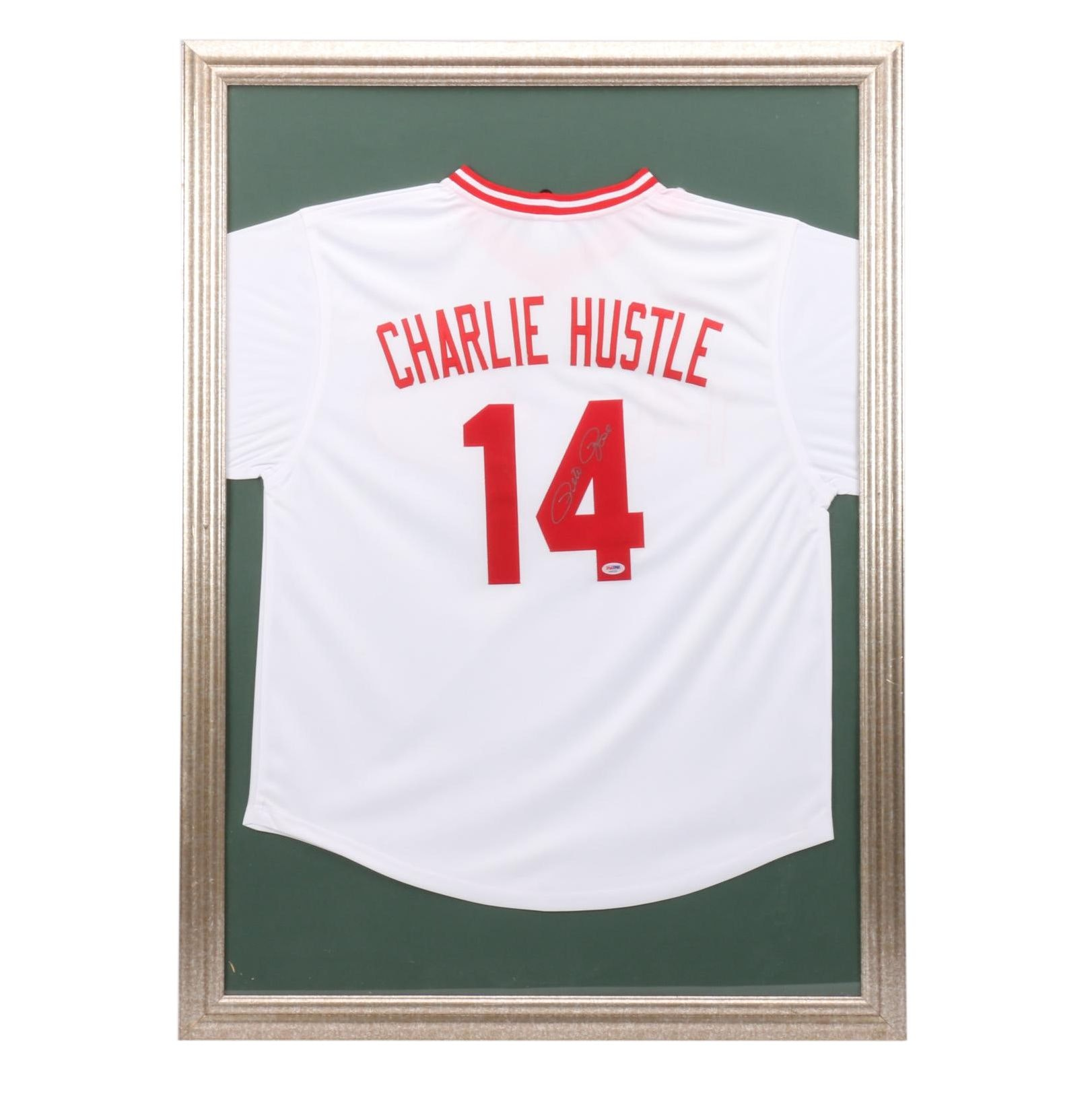 "Framed Pete Rose Signed ""Charlie Hustle"" Jersey  COA"