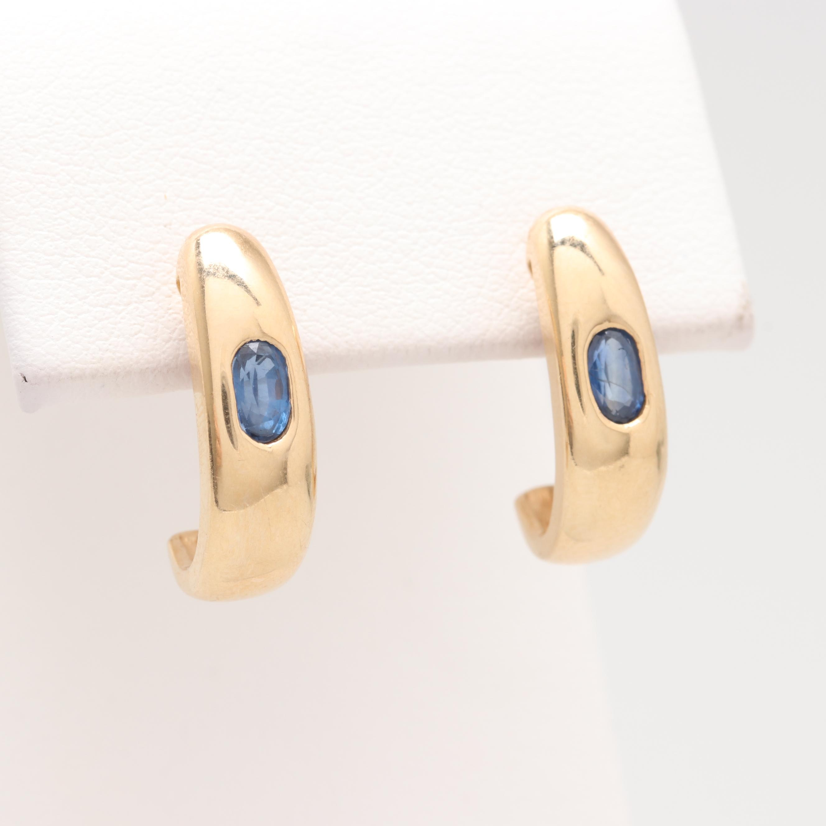 14K Yellow Gold Sapphire J-Hoop Earrings