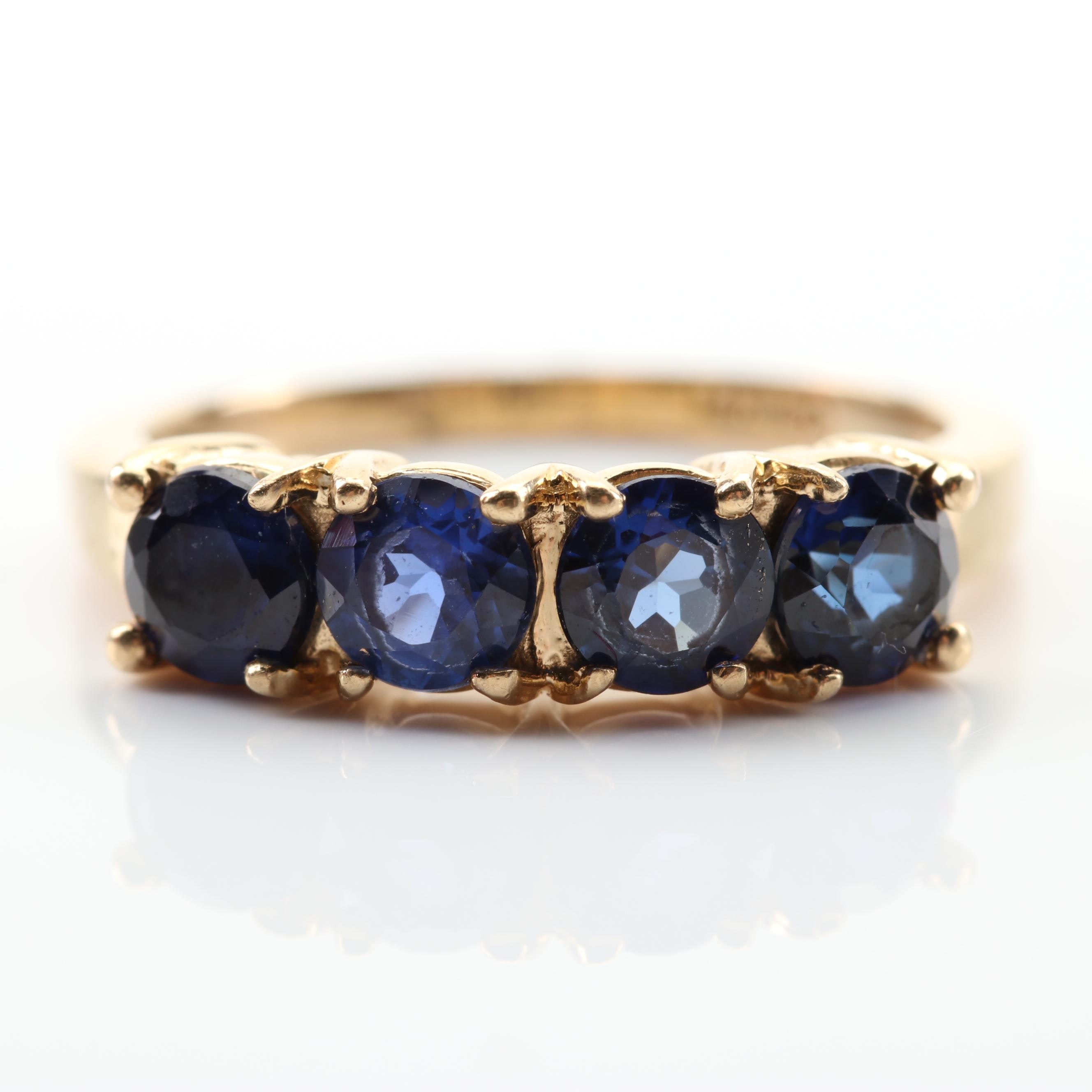 14K Yellow Gold Four-Stone Sapphire Ring
