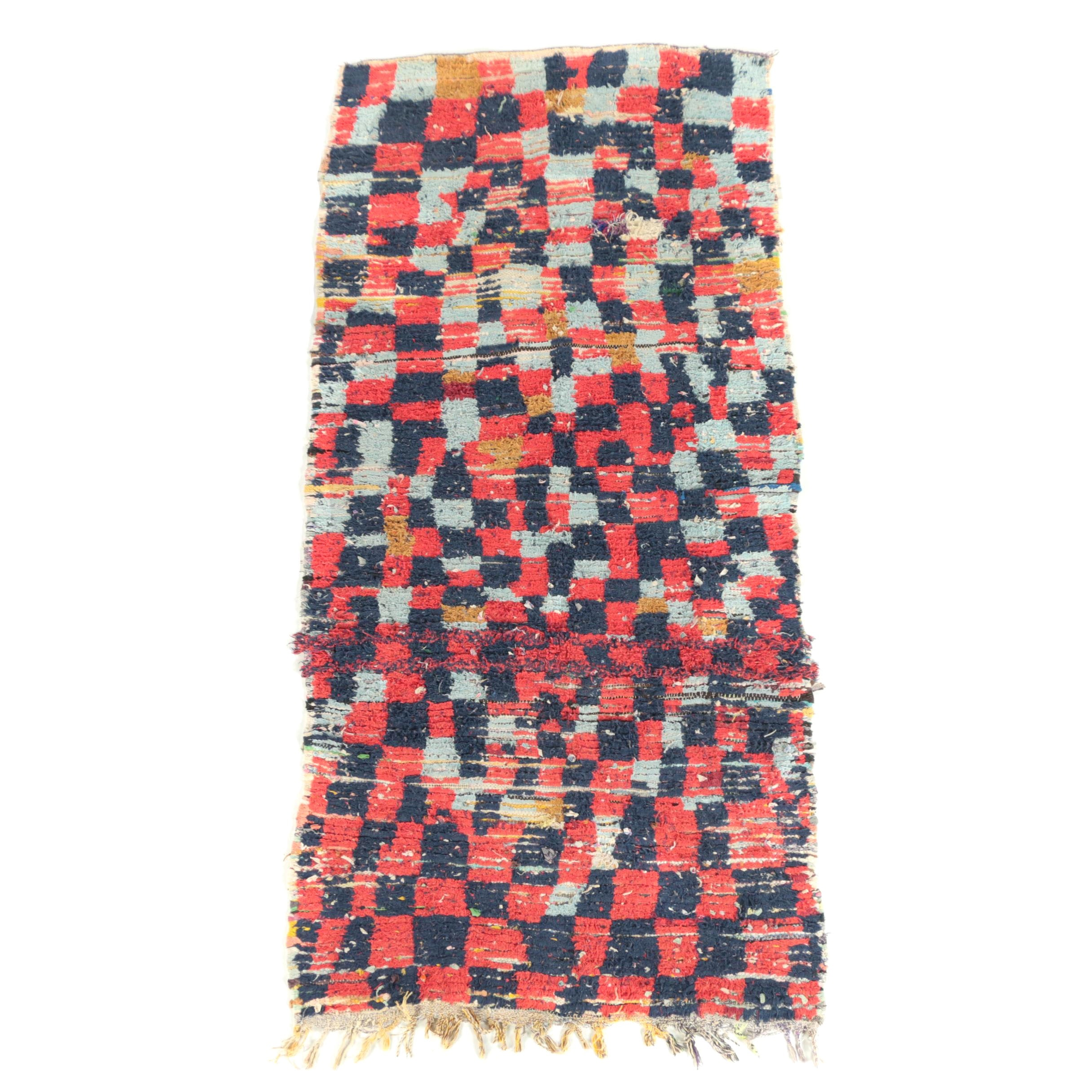 Hand-Knotted Moroccan Boucherouite Cotton Long Rug