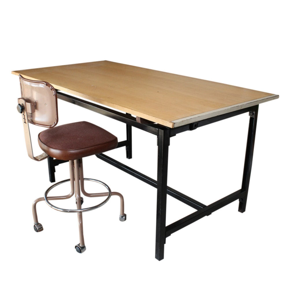 Vintage Drafting Table and Drafting Chair