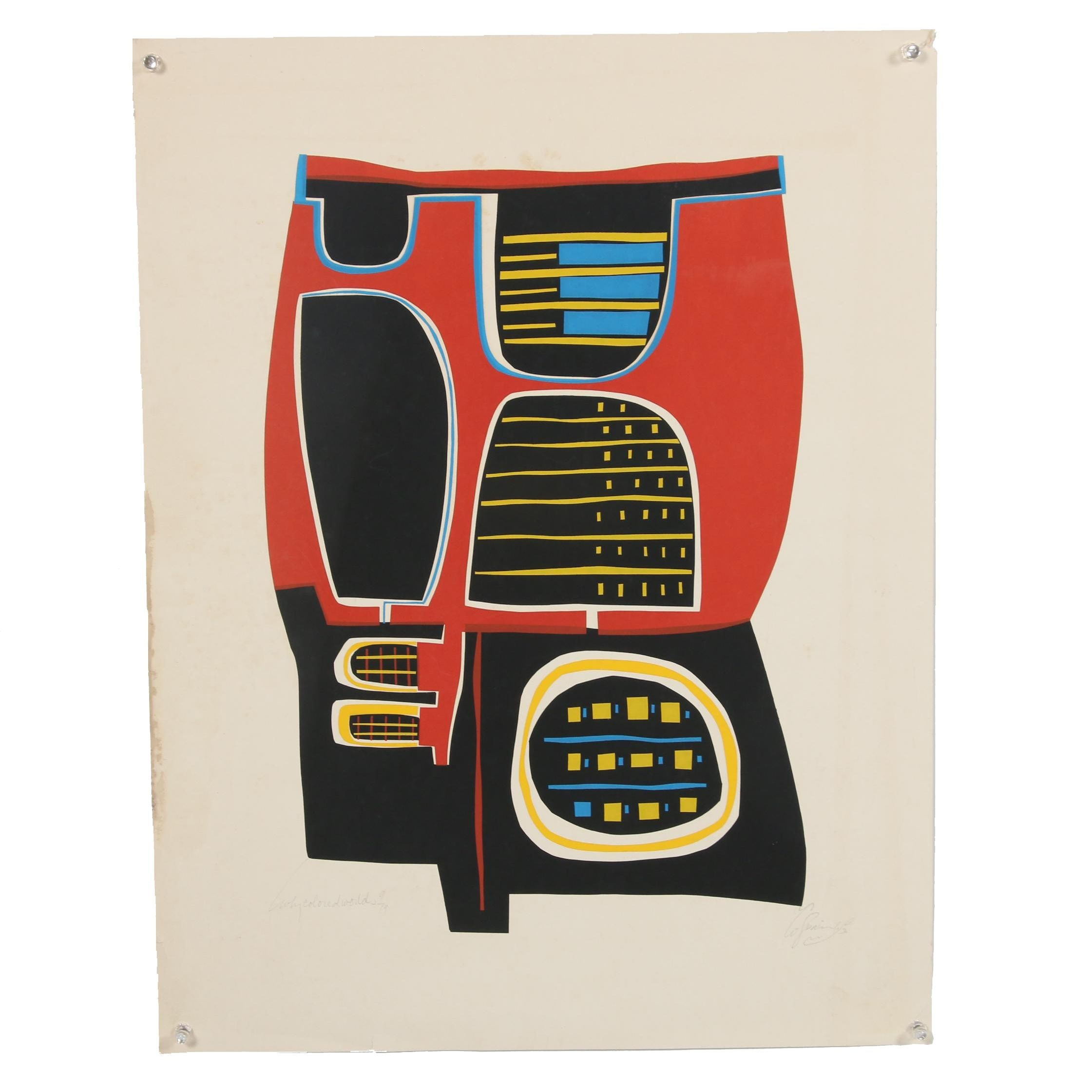 "Late 20th Century Serigraph ""Why Colored Worlds"""