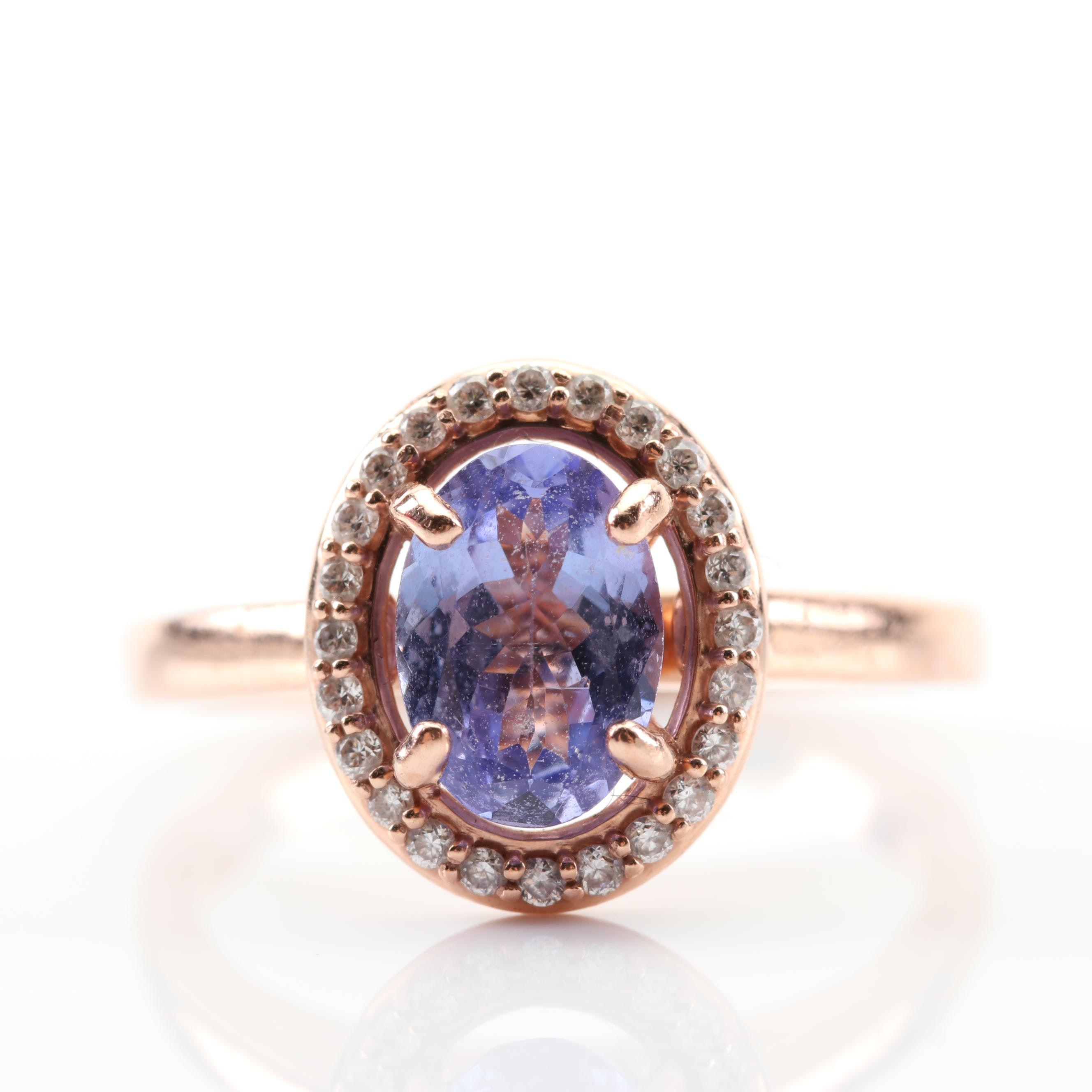 10K Rose Gold 1.00 CT Tanzanite and Diamond Ring