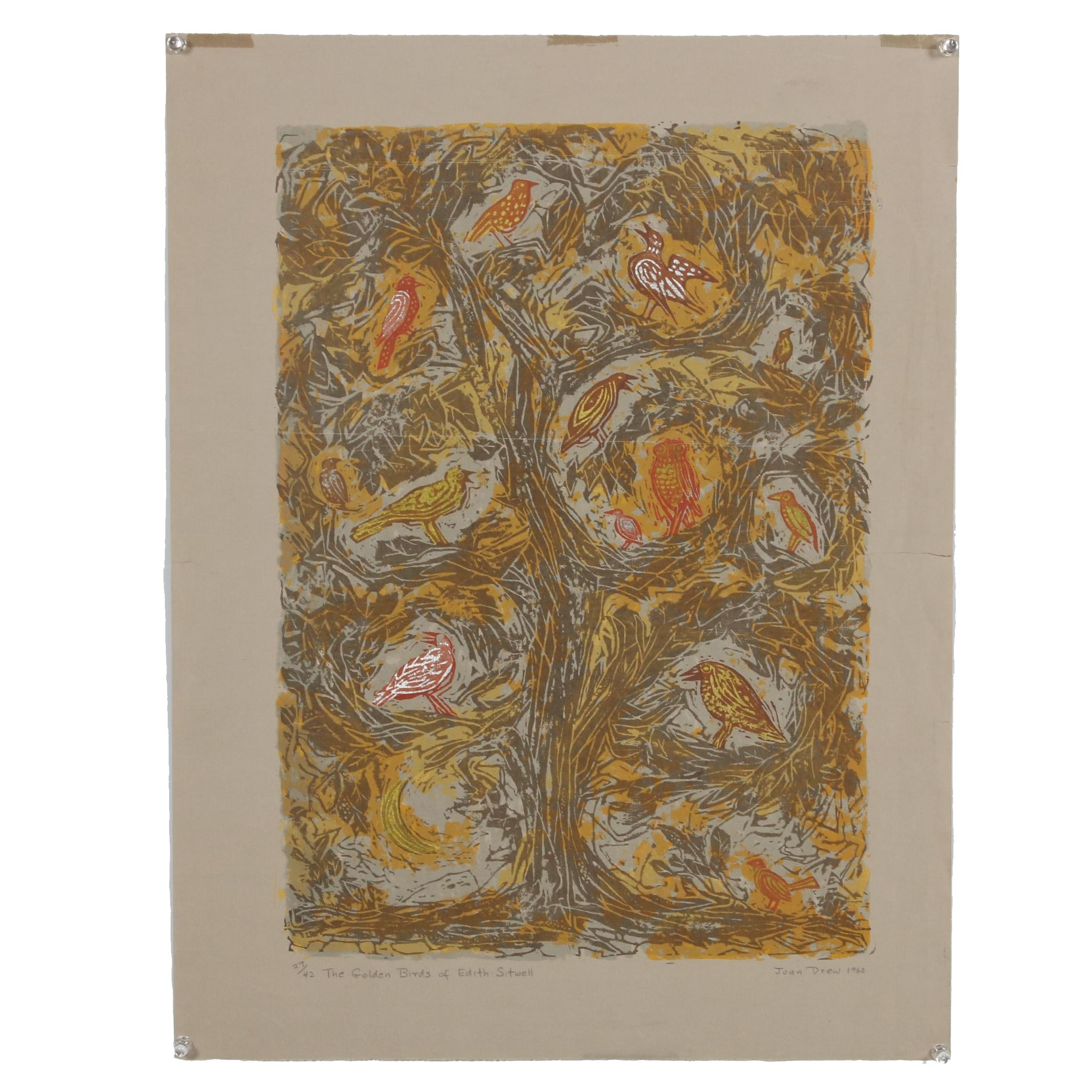 "Joan Drew Embellished Serigraph ""The Golden Birds of Edith Sitwell"""