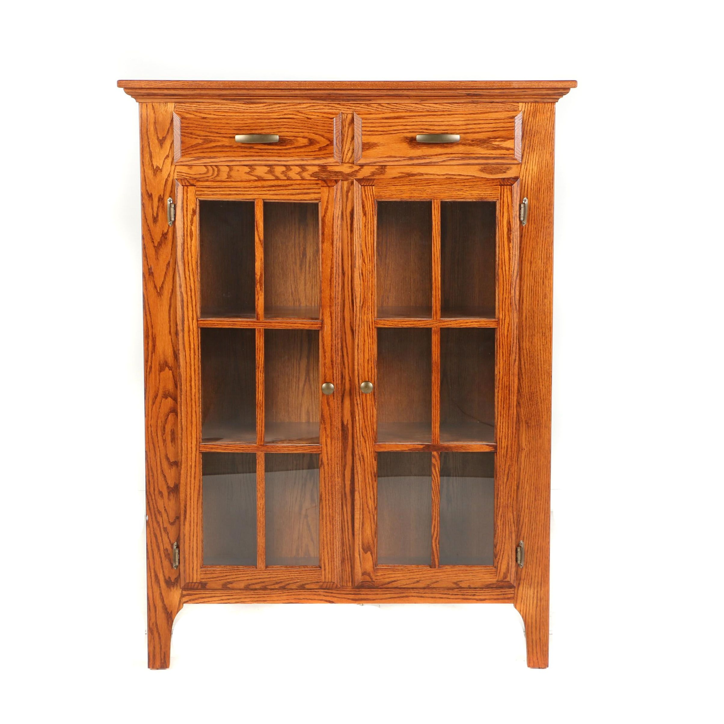 Contemporary Federal Style Oak Bench-Made Jelly Cupboard