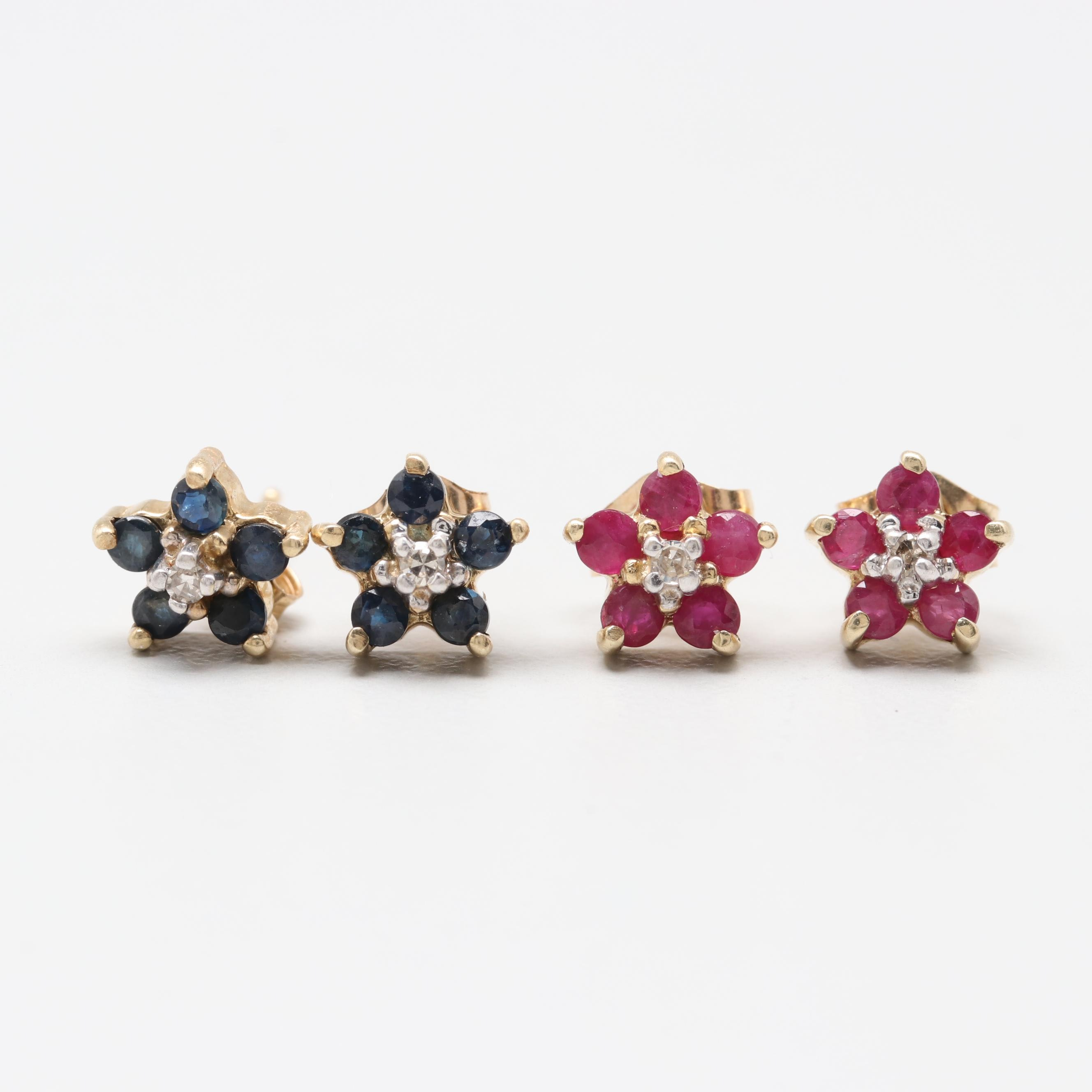 10K Yellow Gold Diamond, Ruby and Sapphire Earrings with 14K Clutches
